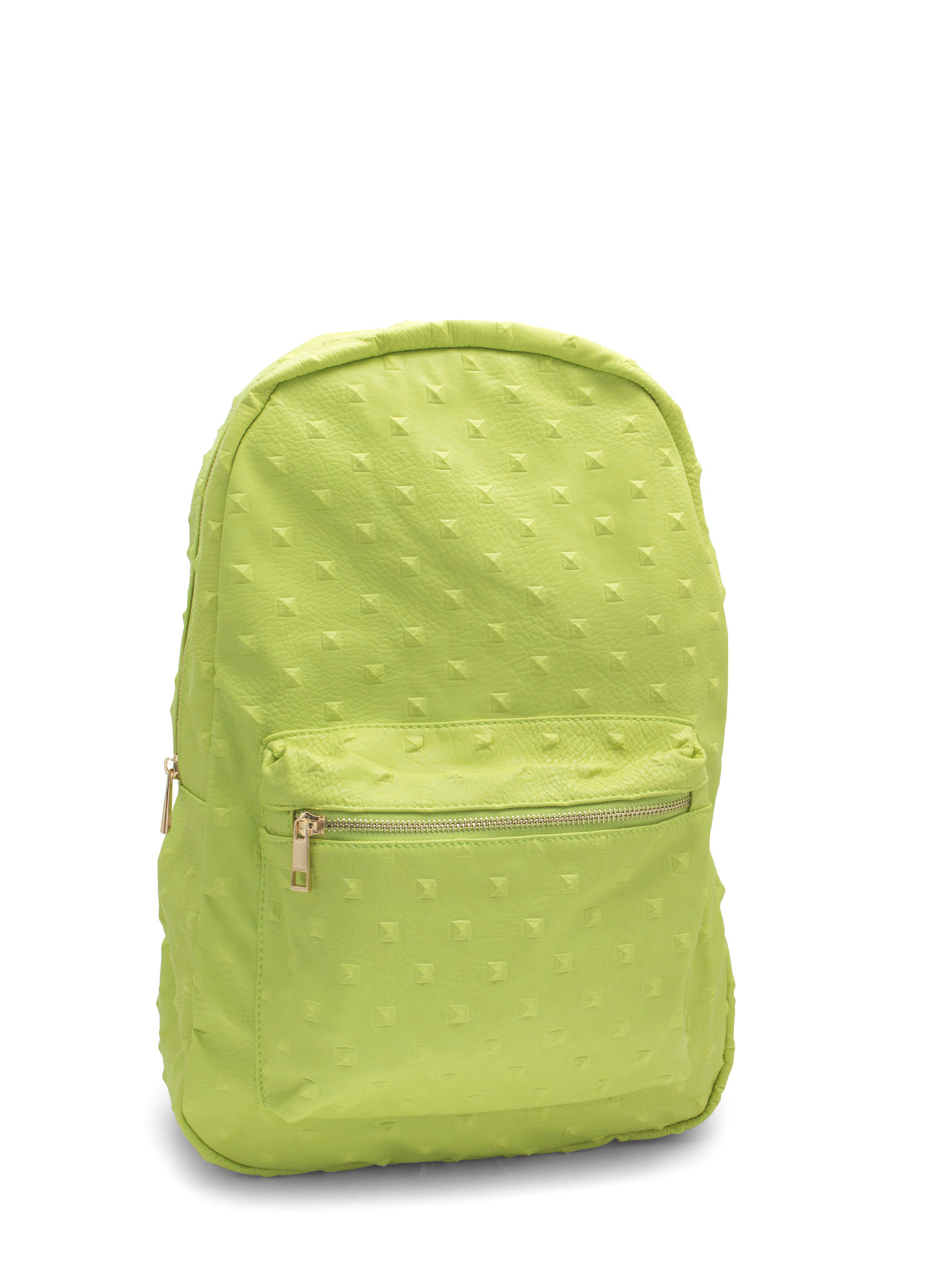 Imprint Studded Faux Leather Backpack YELLOW