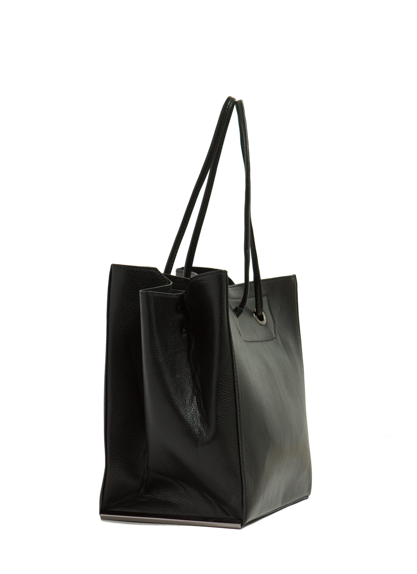 Drawstring Metal Accent Handbag BLACK