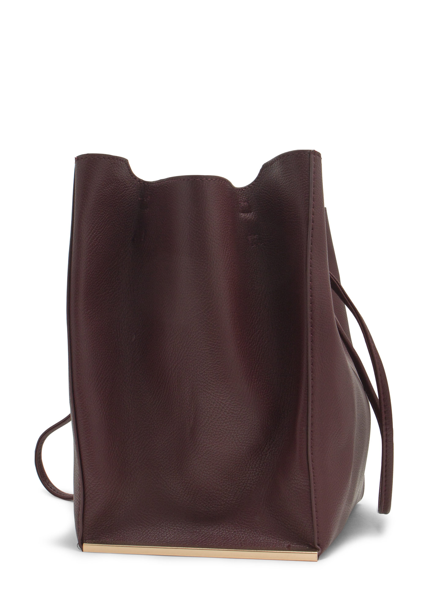 Drawstring Metal Accent Handbag BURGUNDY