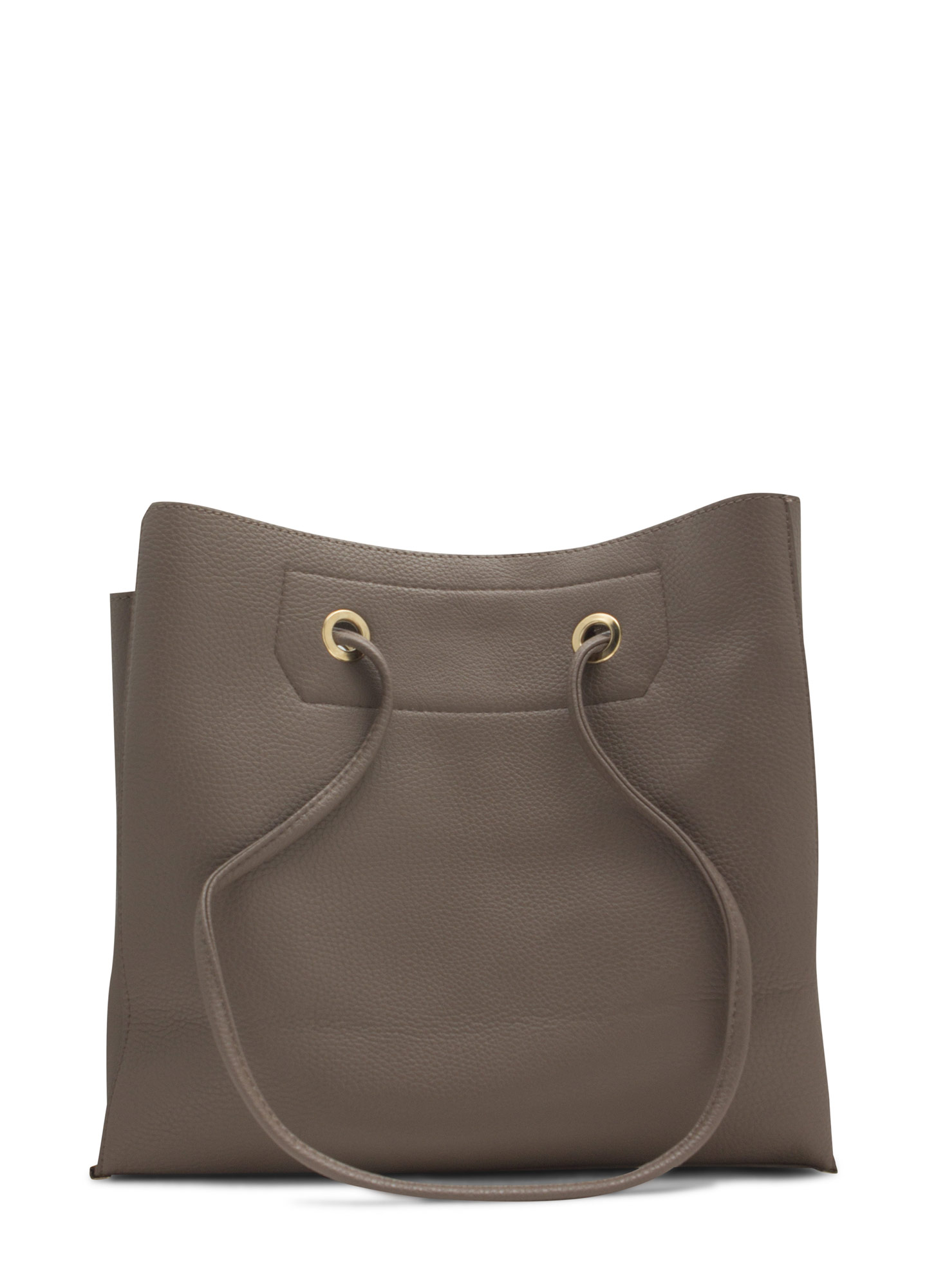 Drawstring Metal Accent Handbag TAUPE