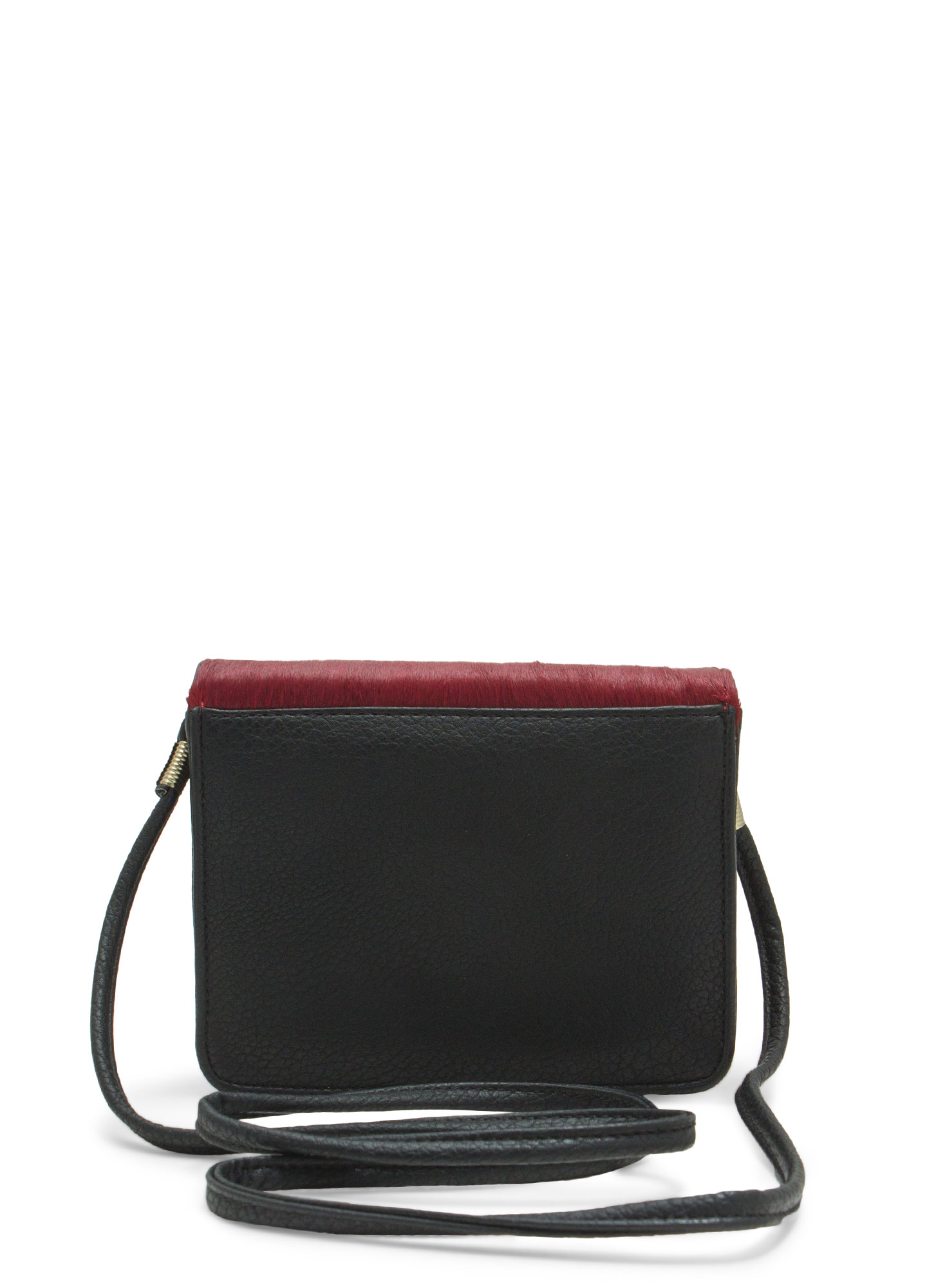 Boxy Pony Hair Clutch BURGUNDYBLK