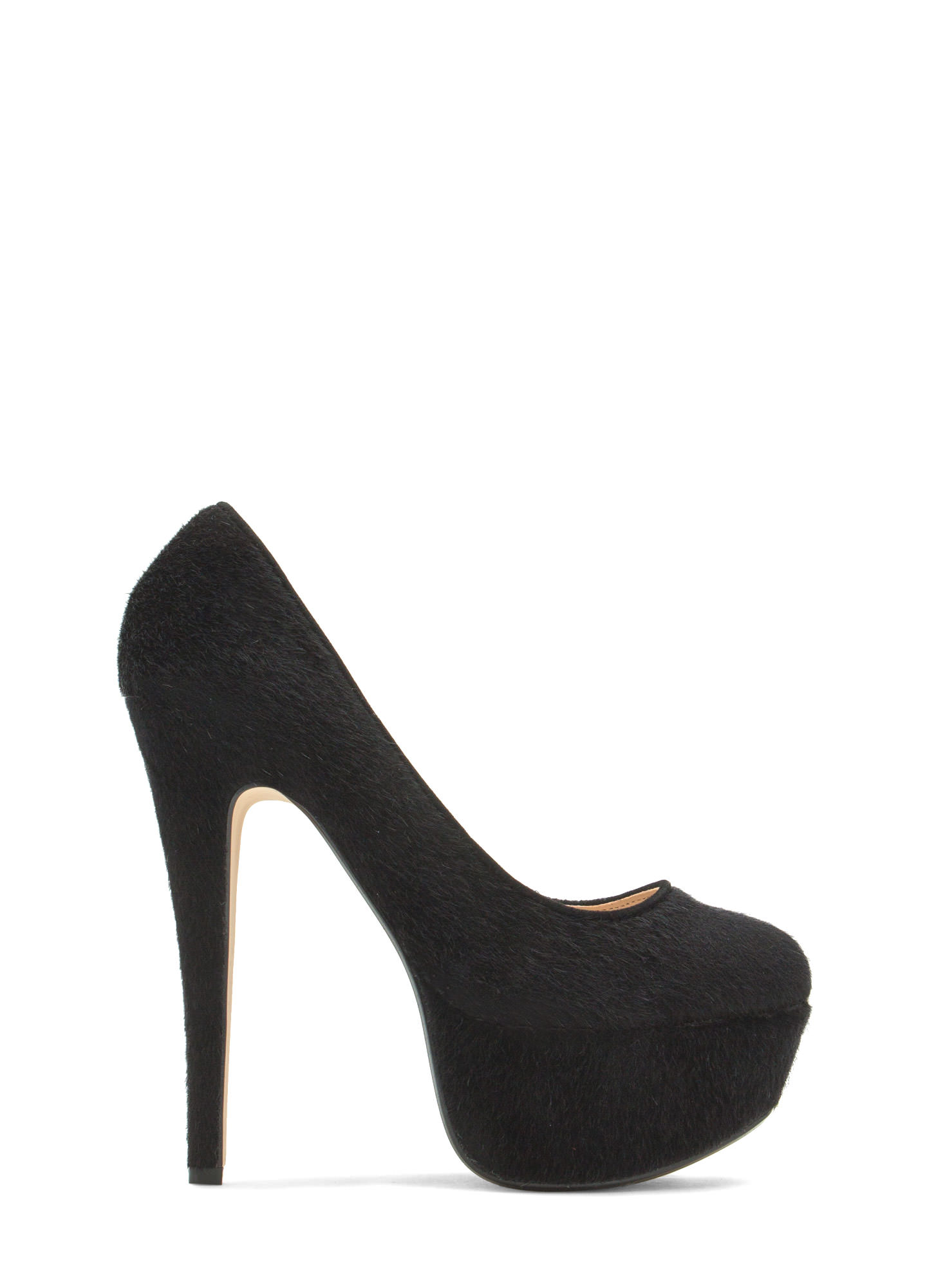 My Little Faux Pony Hair Platforms BLACK