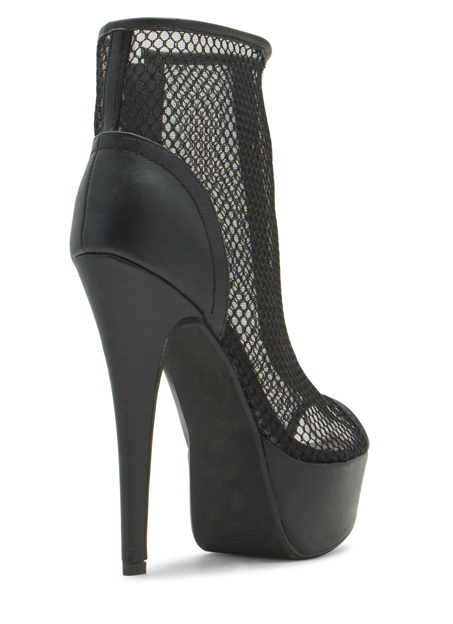 Caught In The Net Platform Booties BLACK