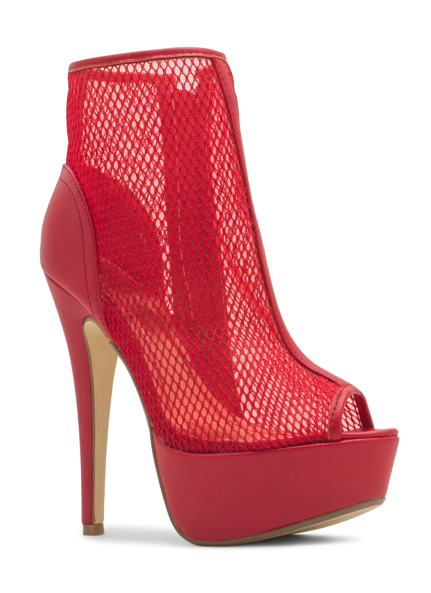 Caught In The Net Platform Booties RED