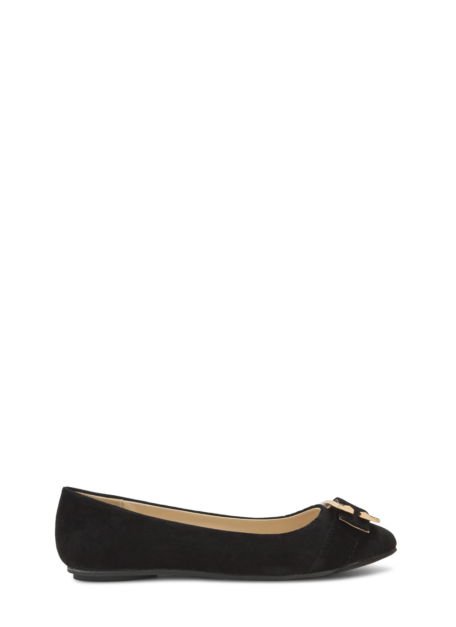 C You Soon Buckled Faux Suede Flats BLACK