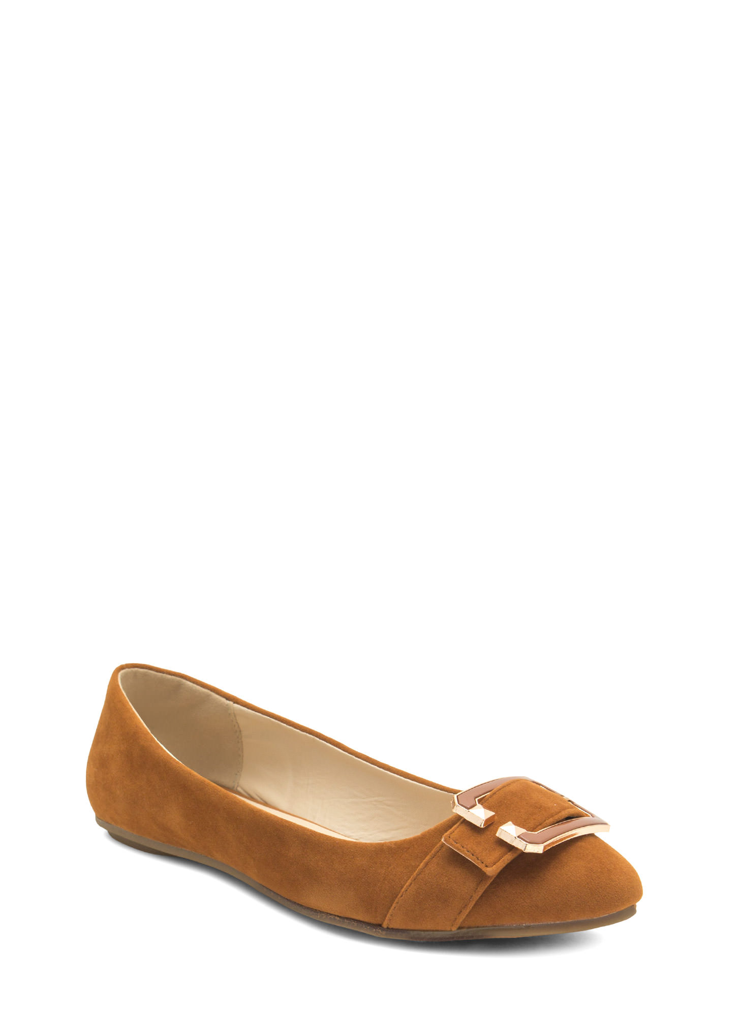 C You Soon Buckled Faux Suede Flats CHESTNUT