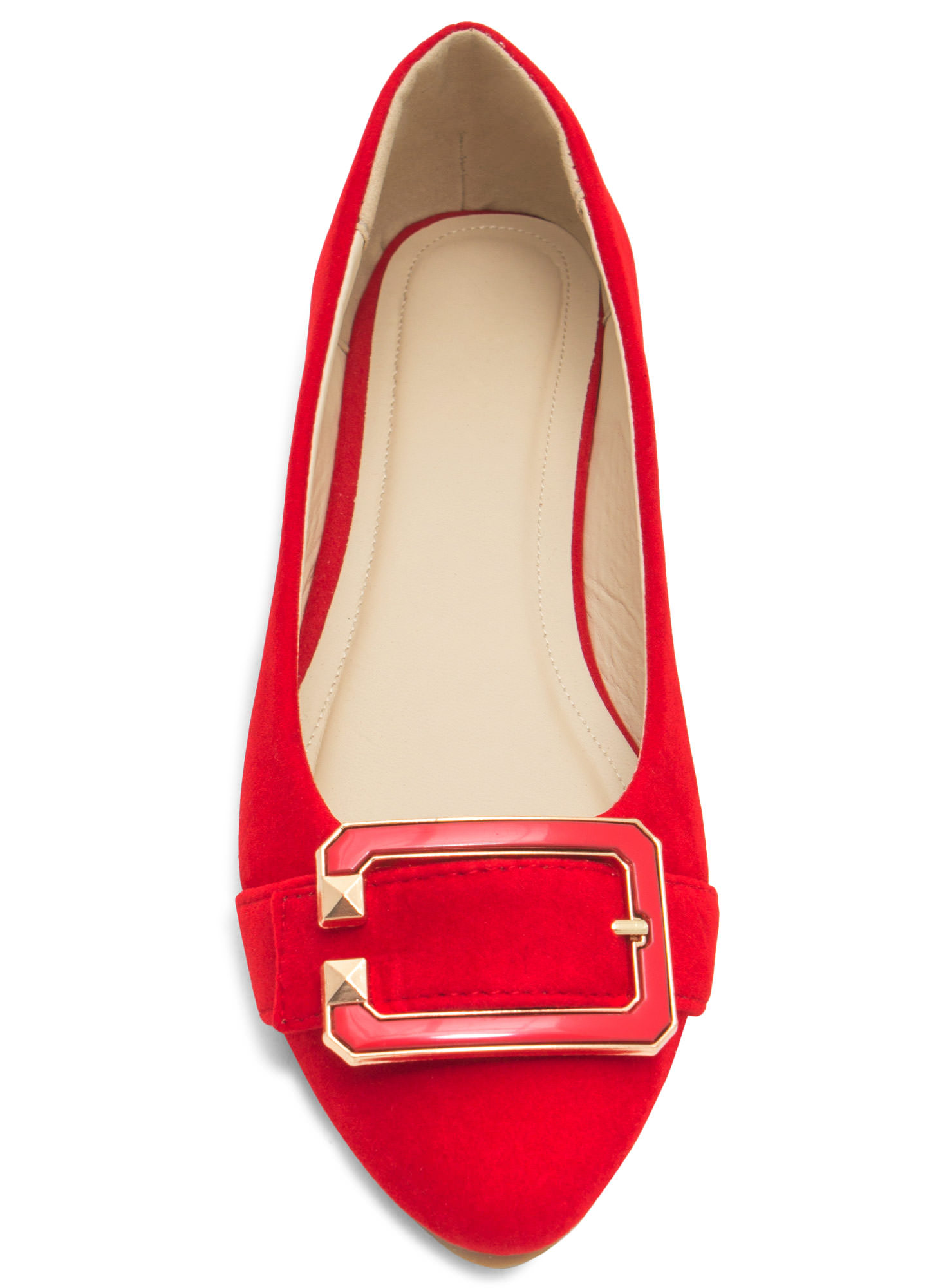 C You Soon Buckled Faux Suede Flats RED