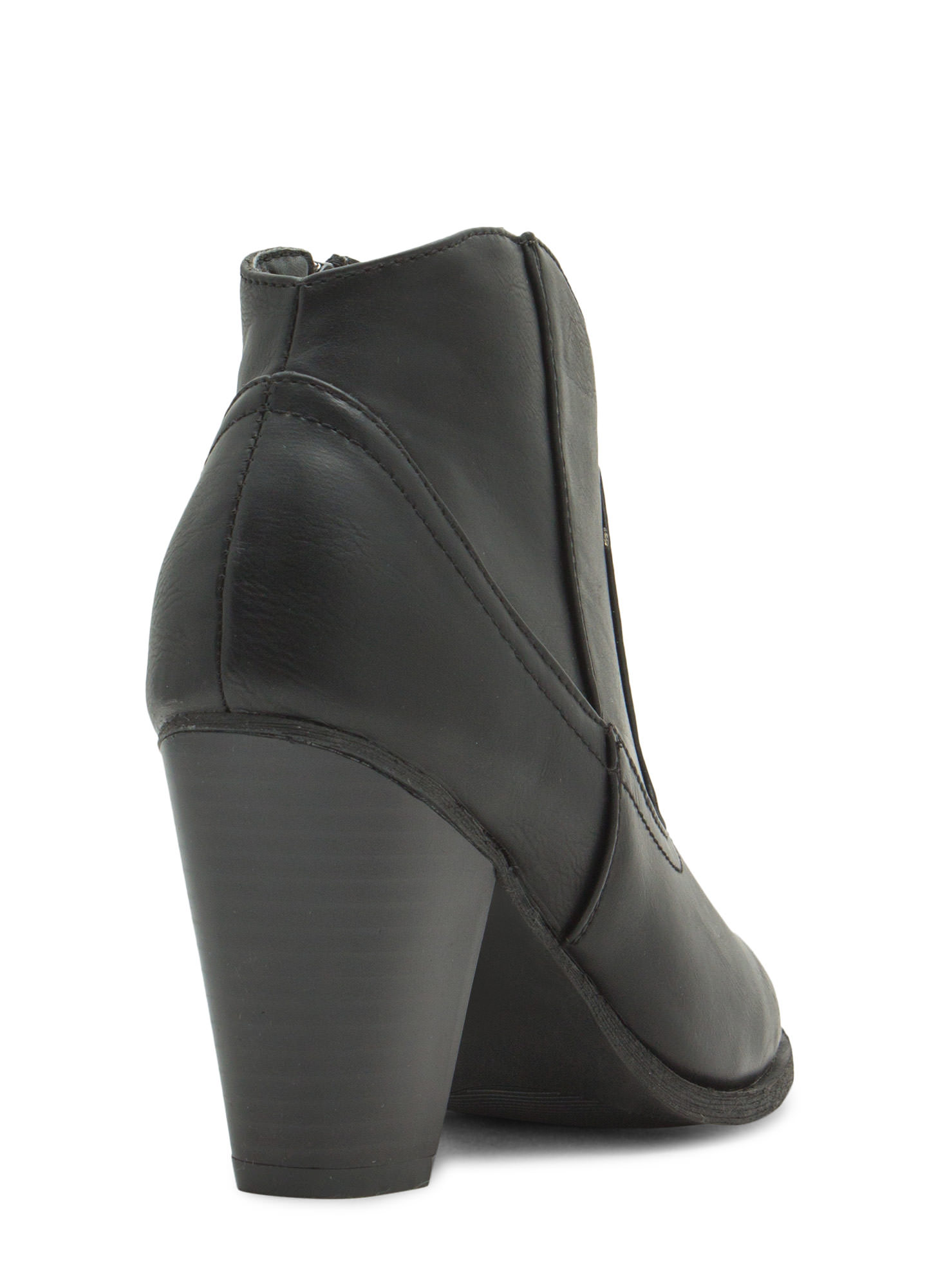 I Got You Faux Leather Booties BLACK