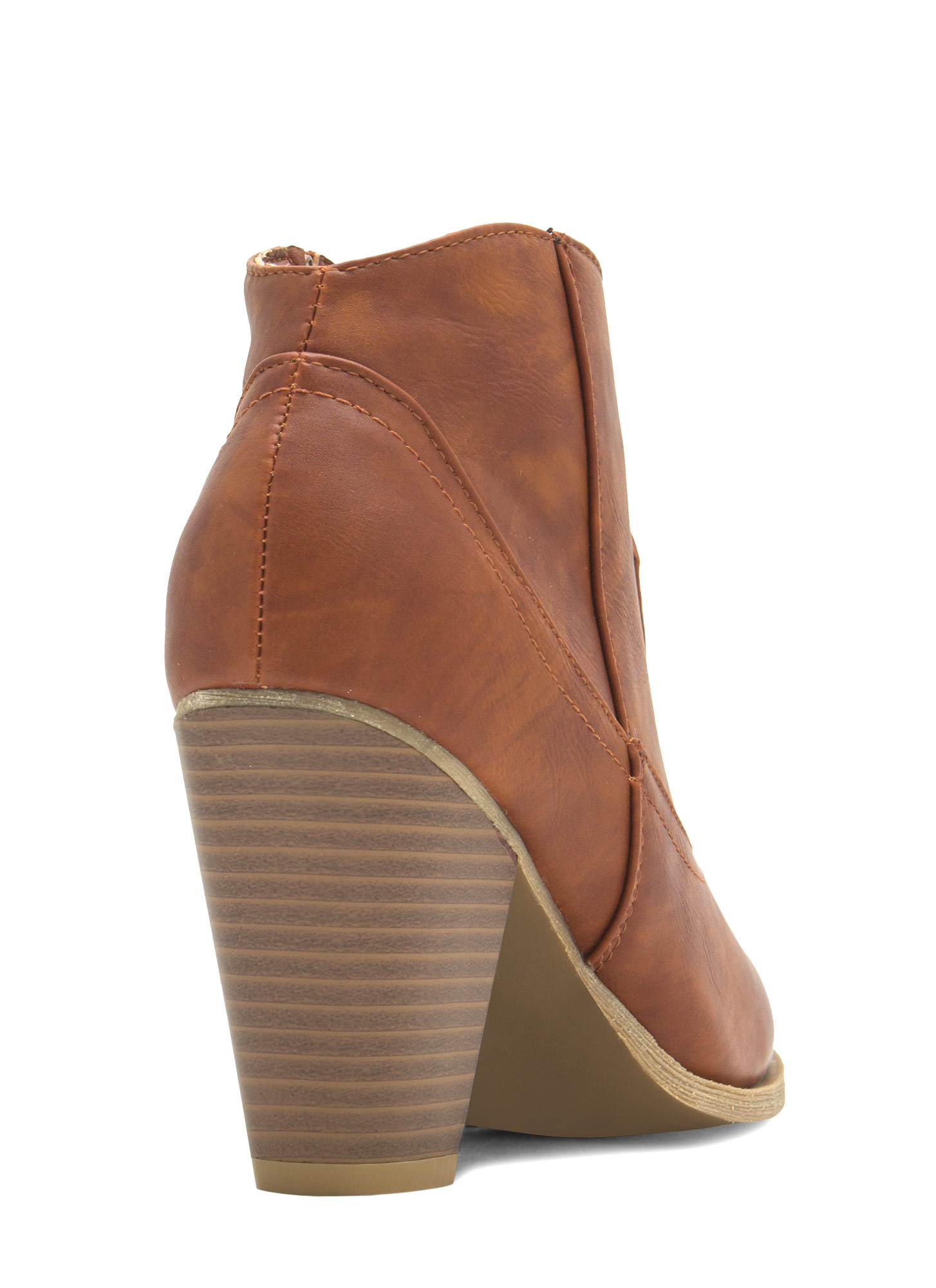I Got You Faux Leather Booties CHESTNUT
