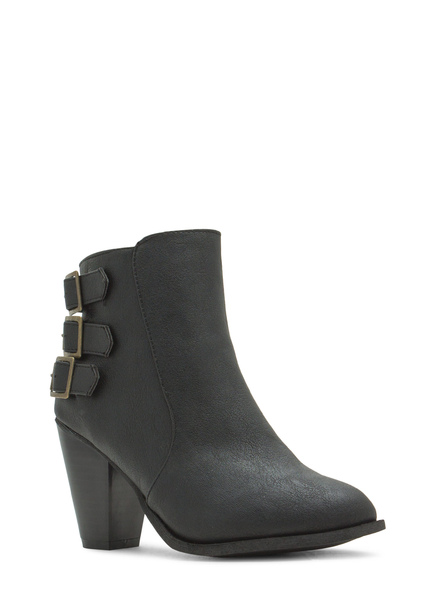 Three Times A Babe Faux Leather Booties BLACK