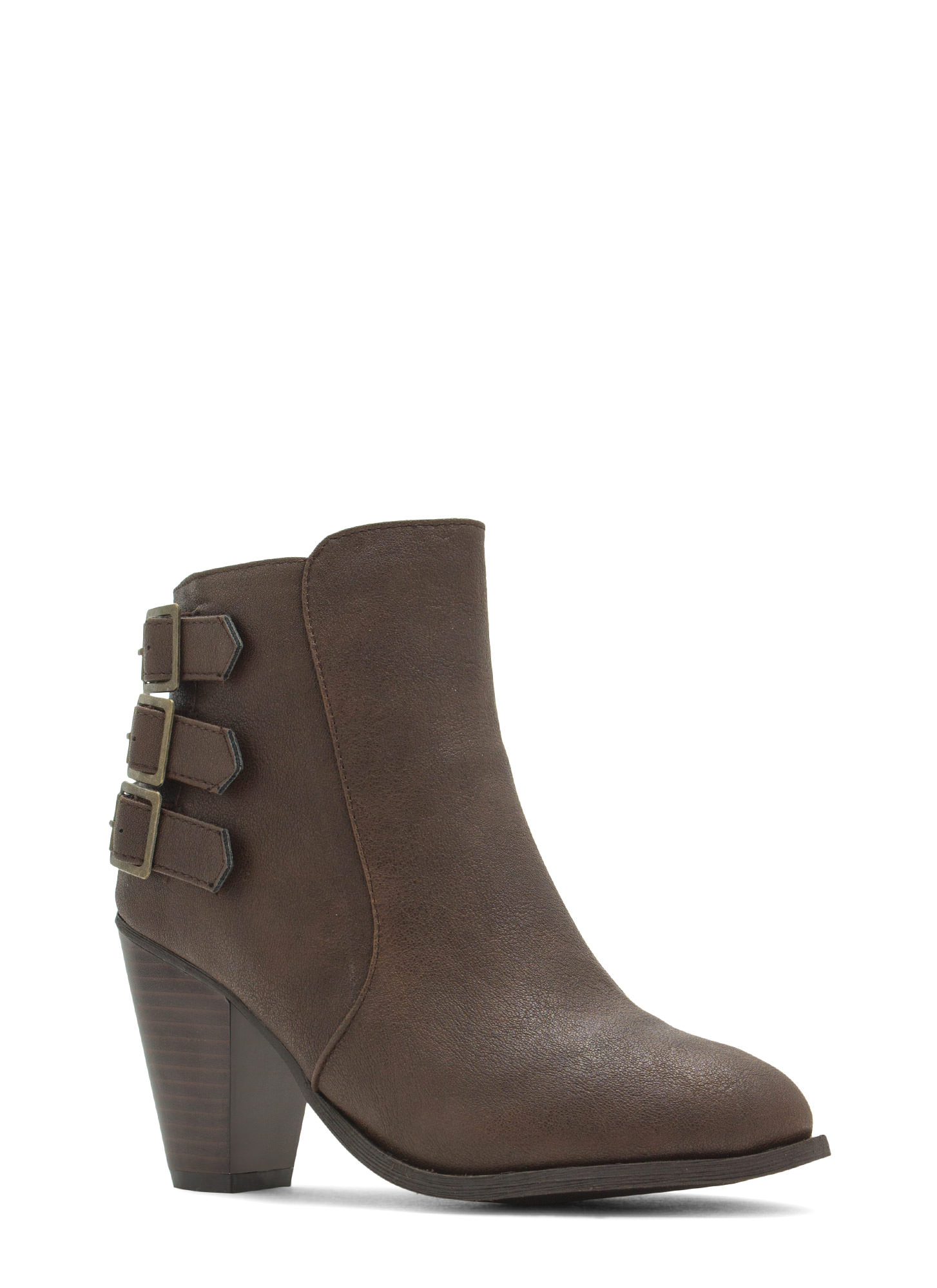 Three Times A Babe Faux Leather Booties BROWN