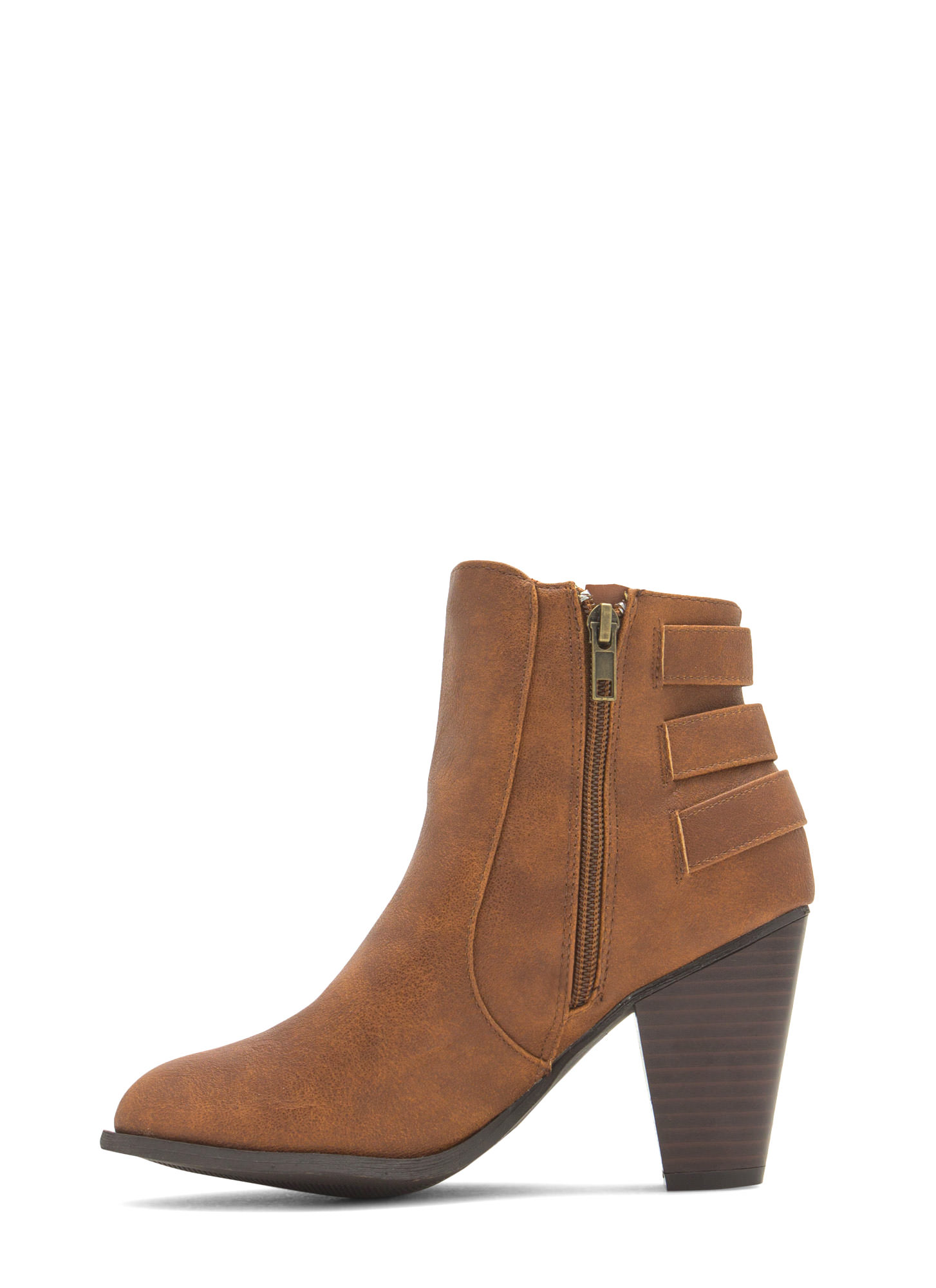 Three Times A Babe Faux Leather Booties CHESTNUT