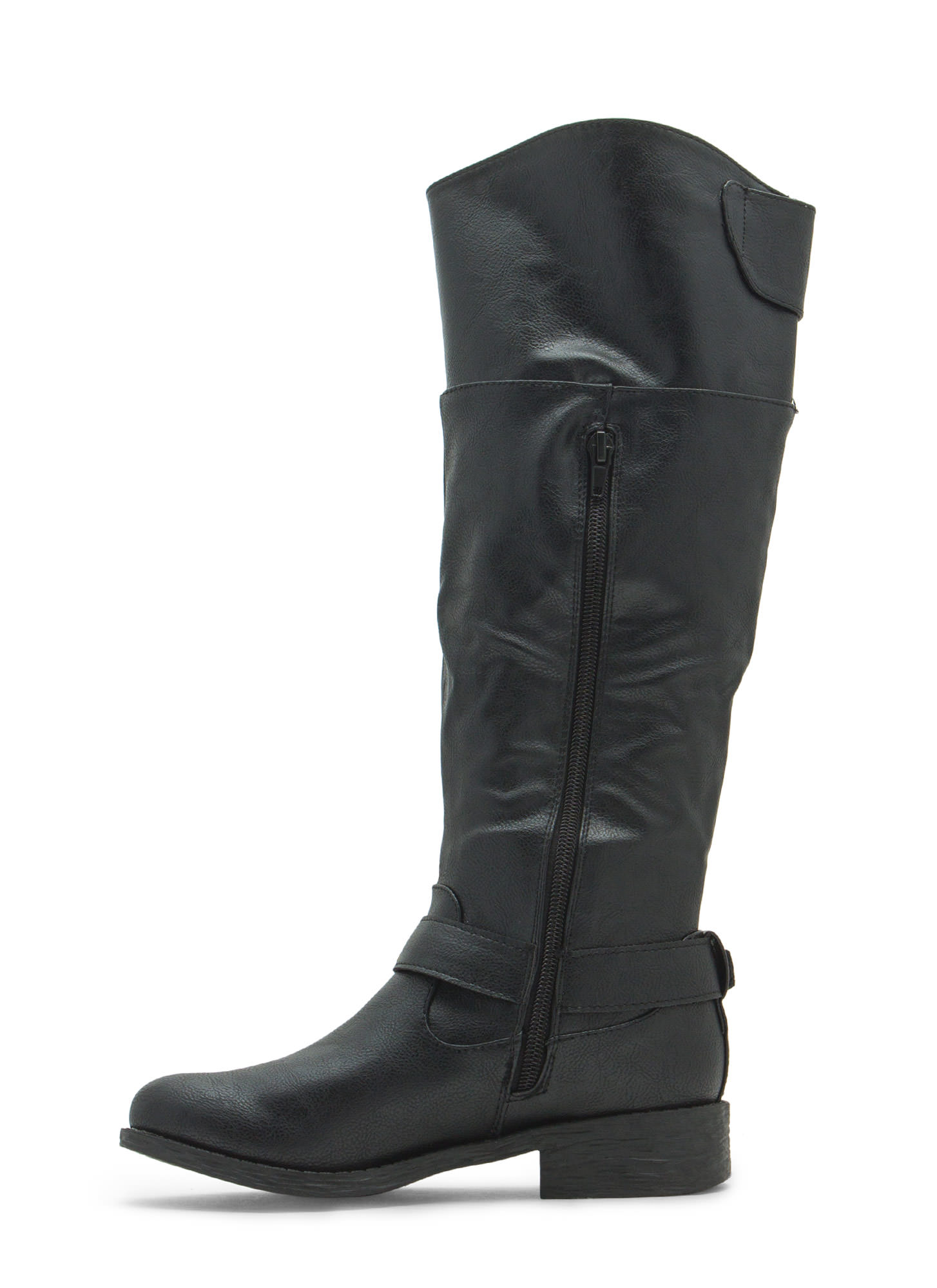 Time 2 Buckle Down Faux Leather Boots BLACK