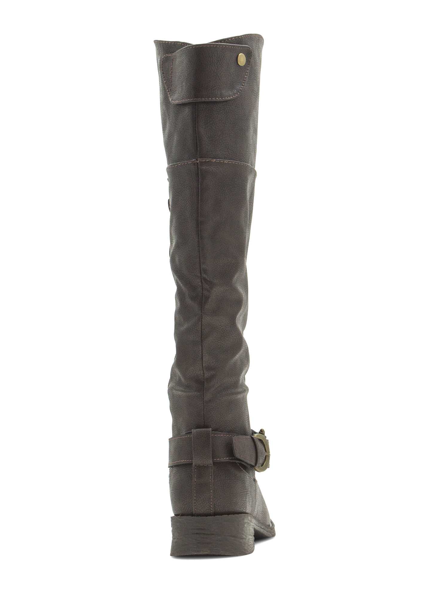 Time 2 Buckle Down Faux Leather Boots BROWN