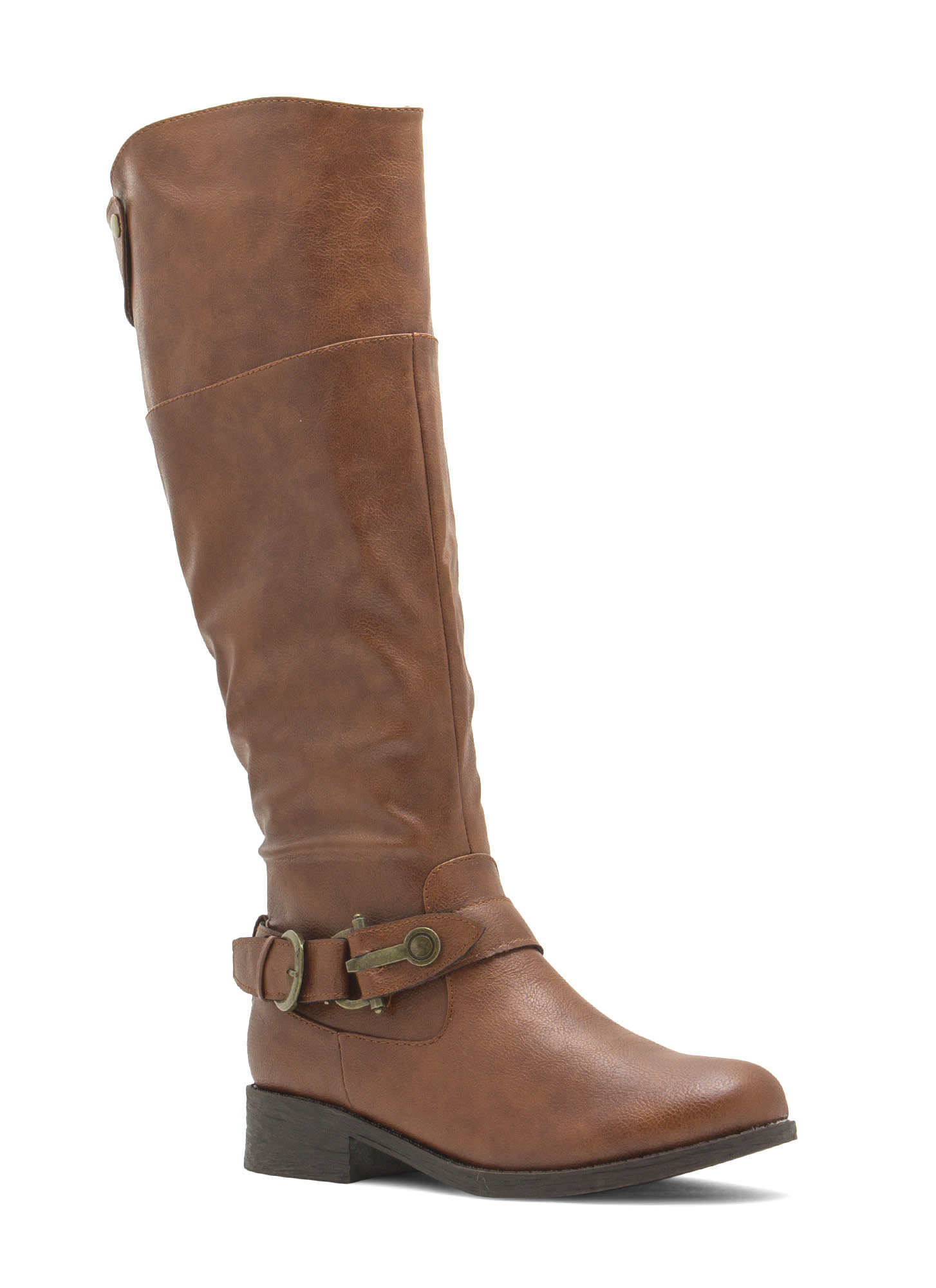 Time 2 Buckle Down Faux Leather Boots CHESTNUT