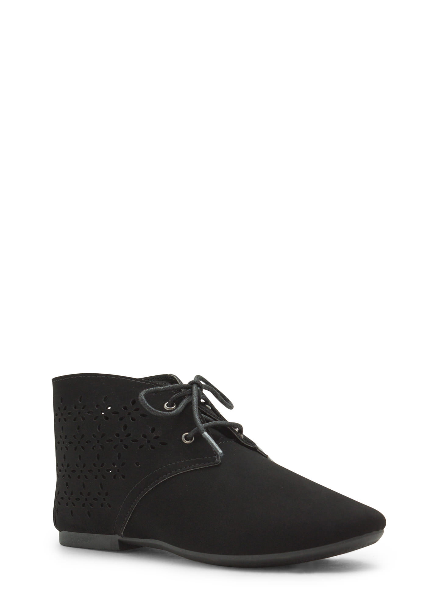 Laser Tag Cut-Out Faux Nubuck Booties BLACK