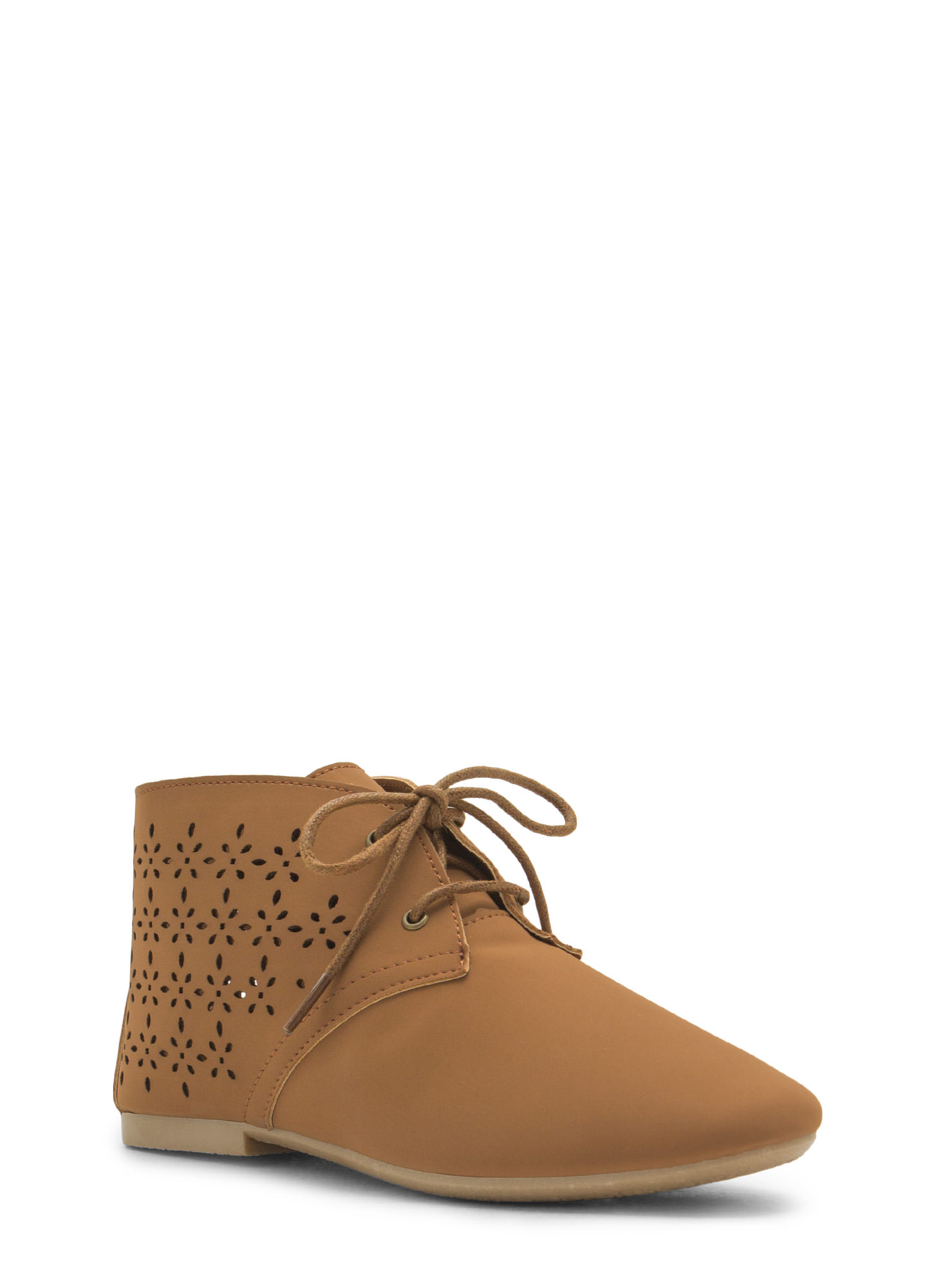 Laser Tag Cut-Out Faux Nubuck Booties CHESTNUT