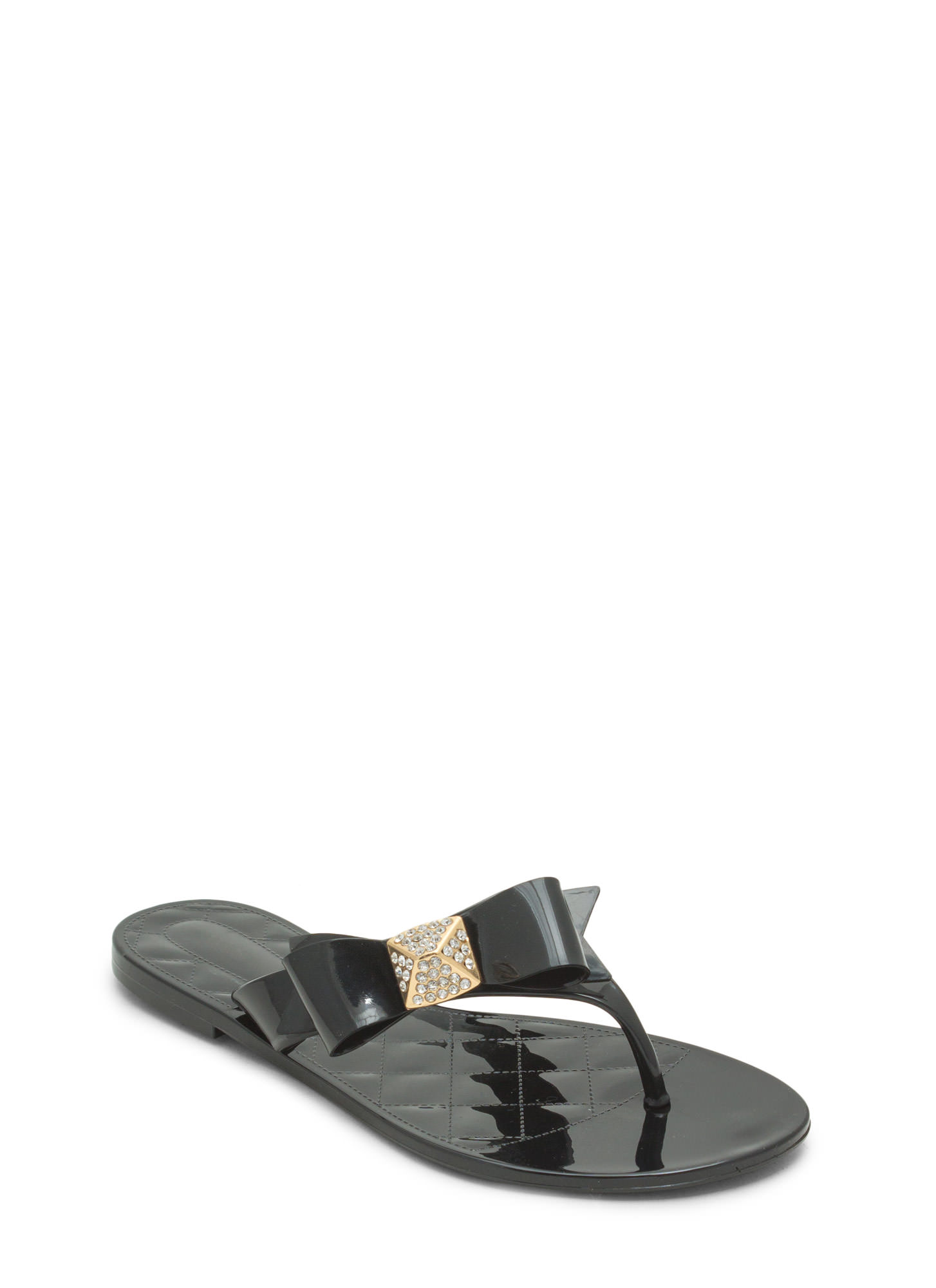 Annual Bow-ness Jelly Thong Sandals BLACK