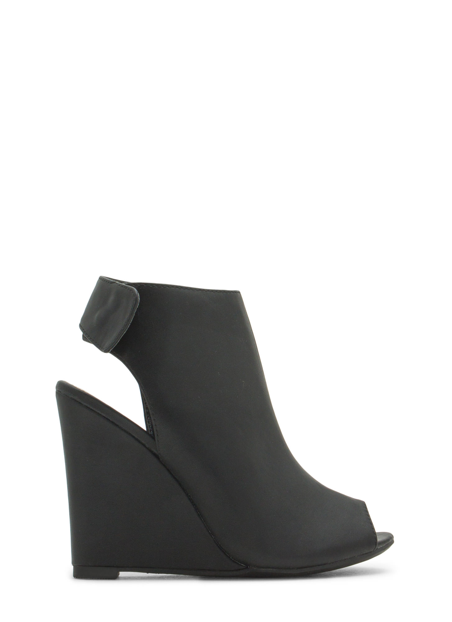 Haute 'N Chic Faux Leather Wedge Booties BLACK