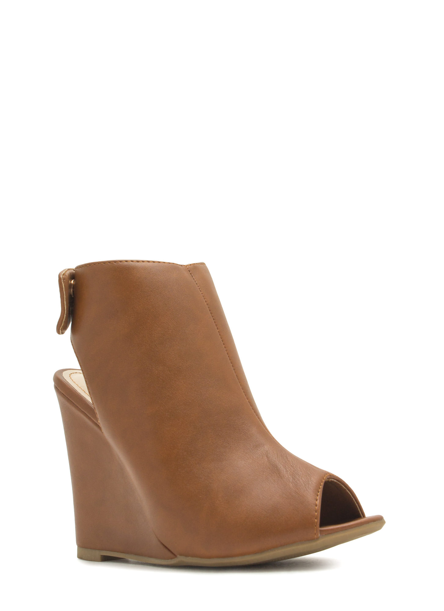 Haute 'N Chic Faux Leather Wedge Booties CHESTNUT