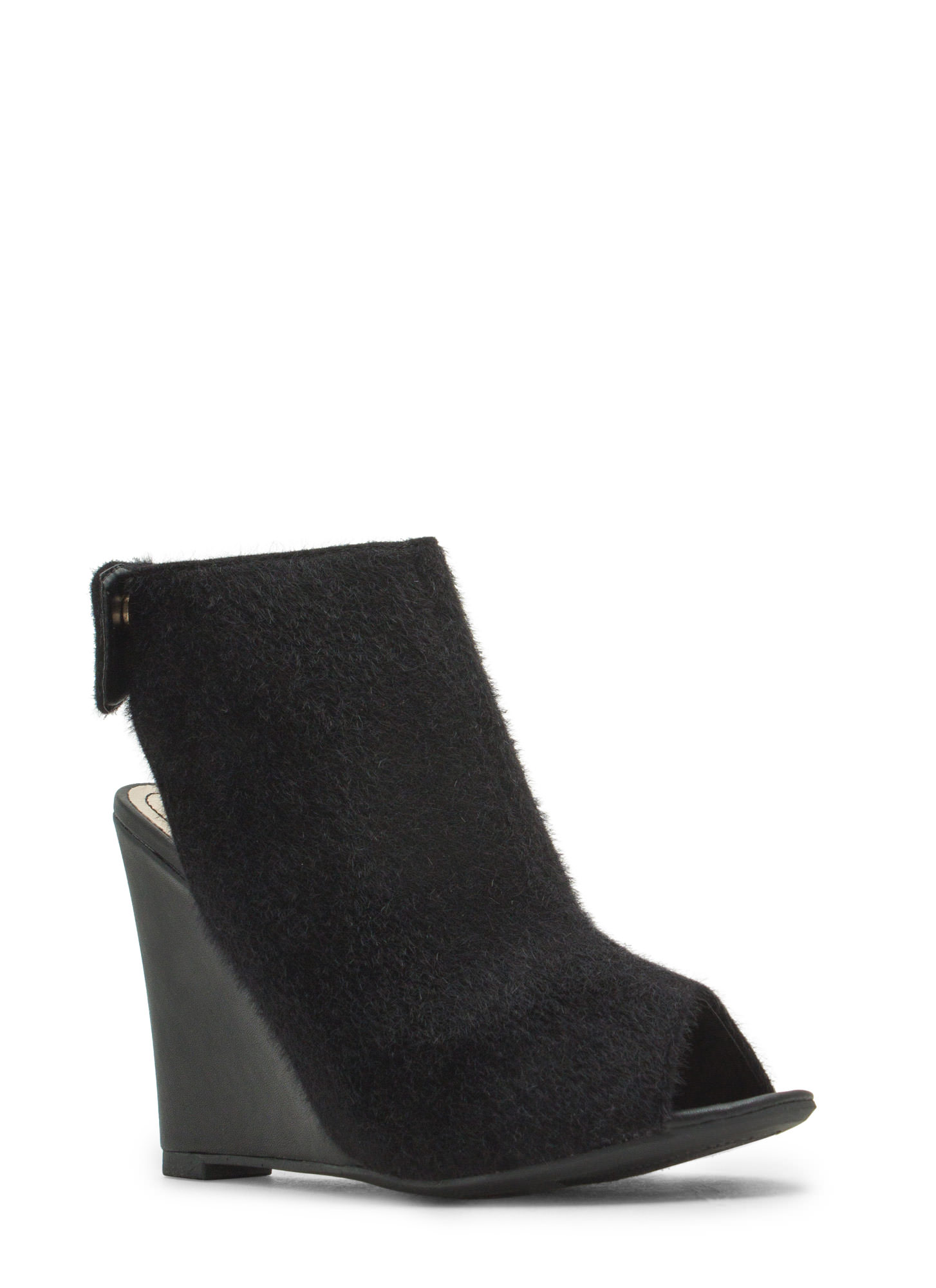 Haute 'N Chic Wedge Booties BLACK