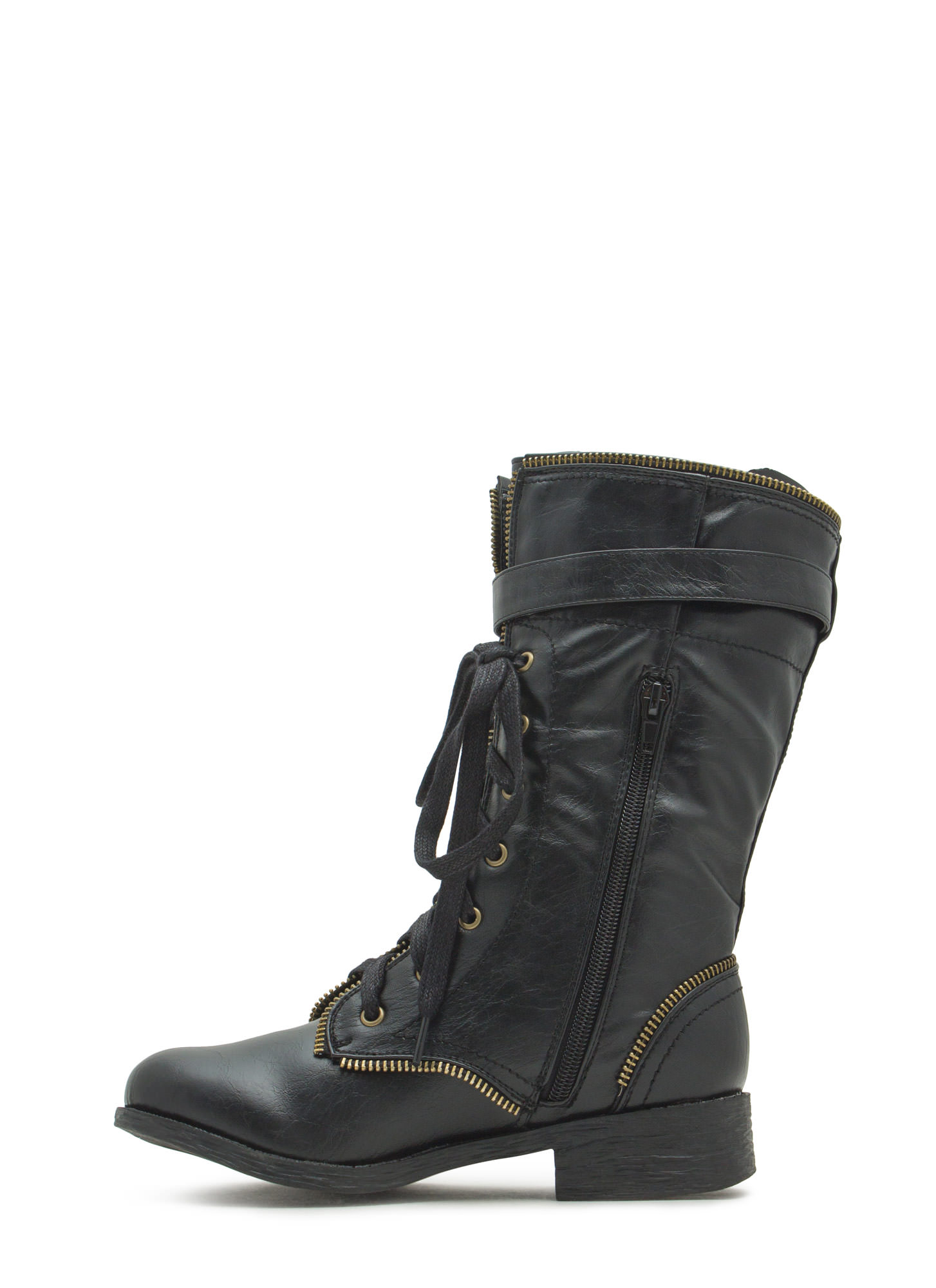 Get Zippy With It Combat Boots BLACK