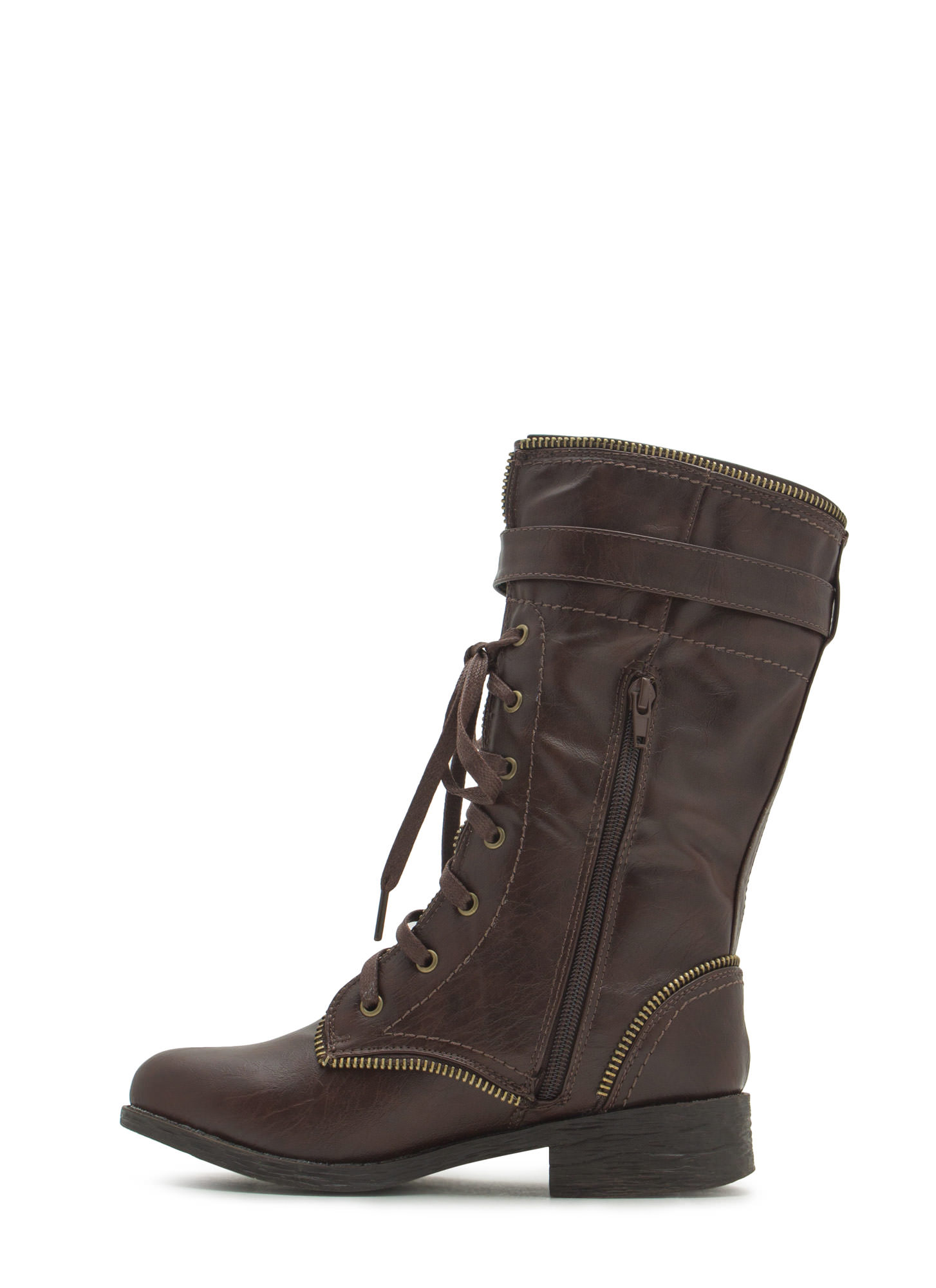 Get Zippy With It Combat Boots BROWN