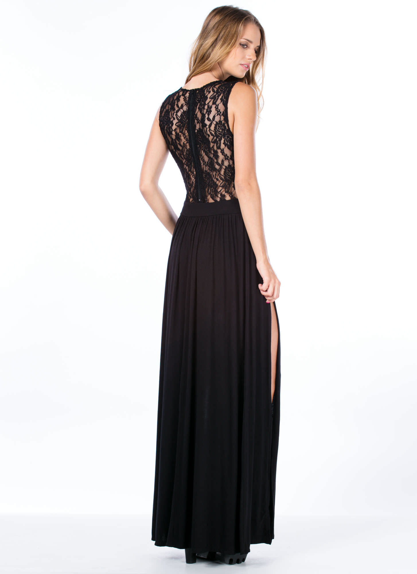 Lace Cadet Sleeveless Maxi Dress BLACK