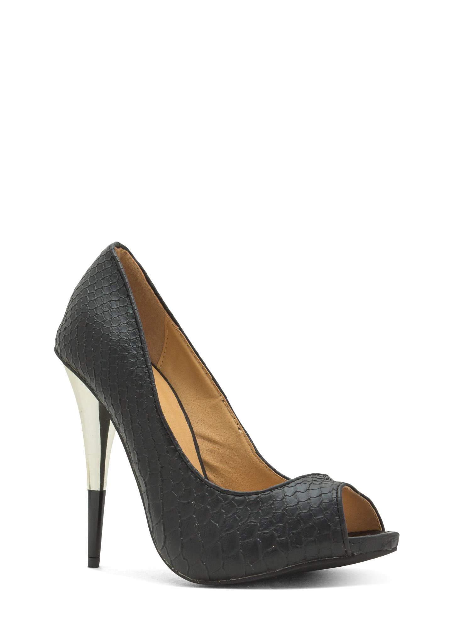 Tip You Off Reptile Scale Peep-Toe Heels BLACK