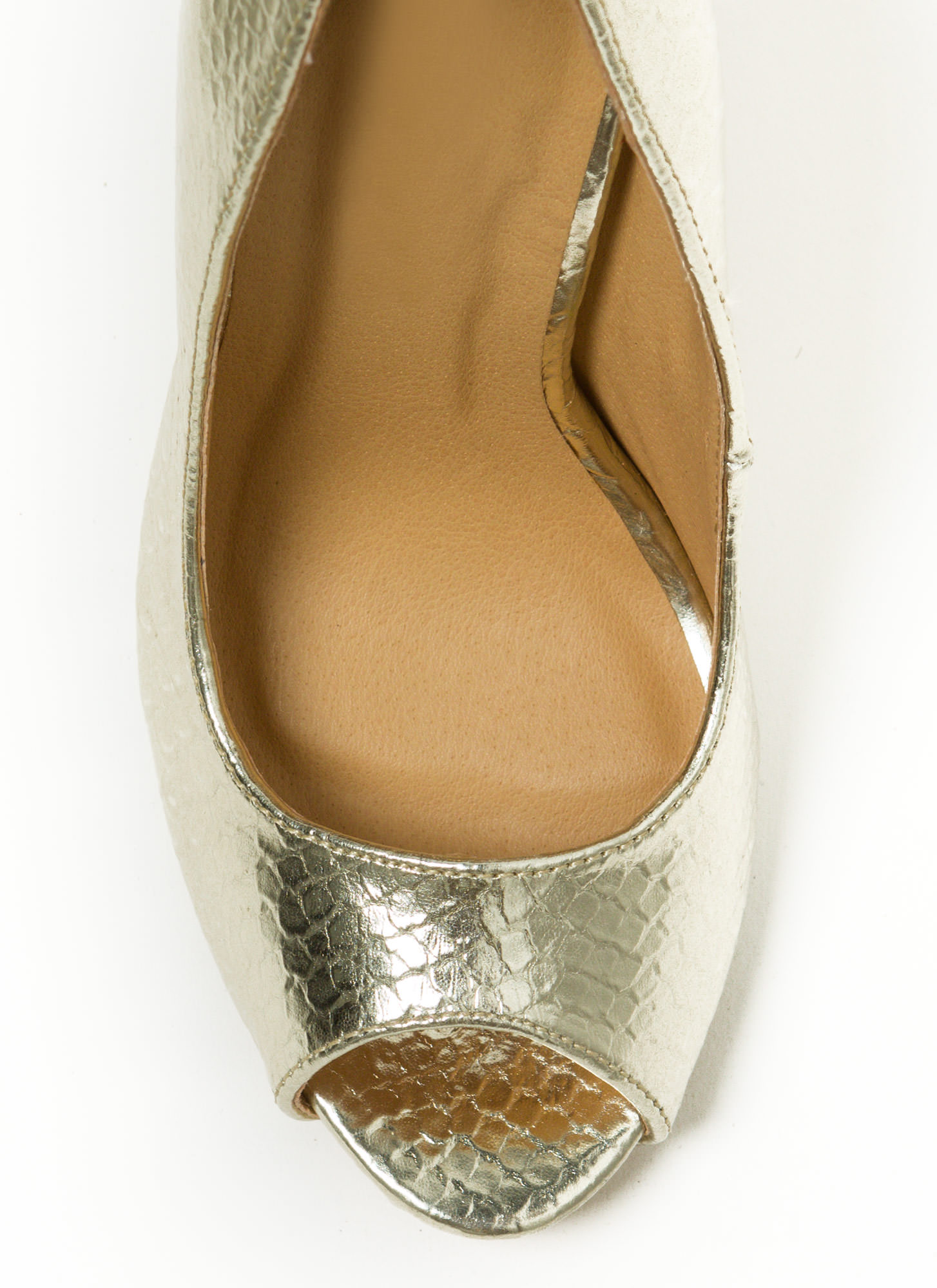 Tip You Off Reptile Scale Peep-Toe Heels GOLD