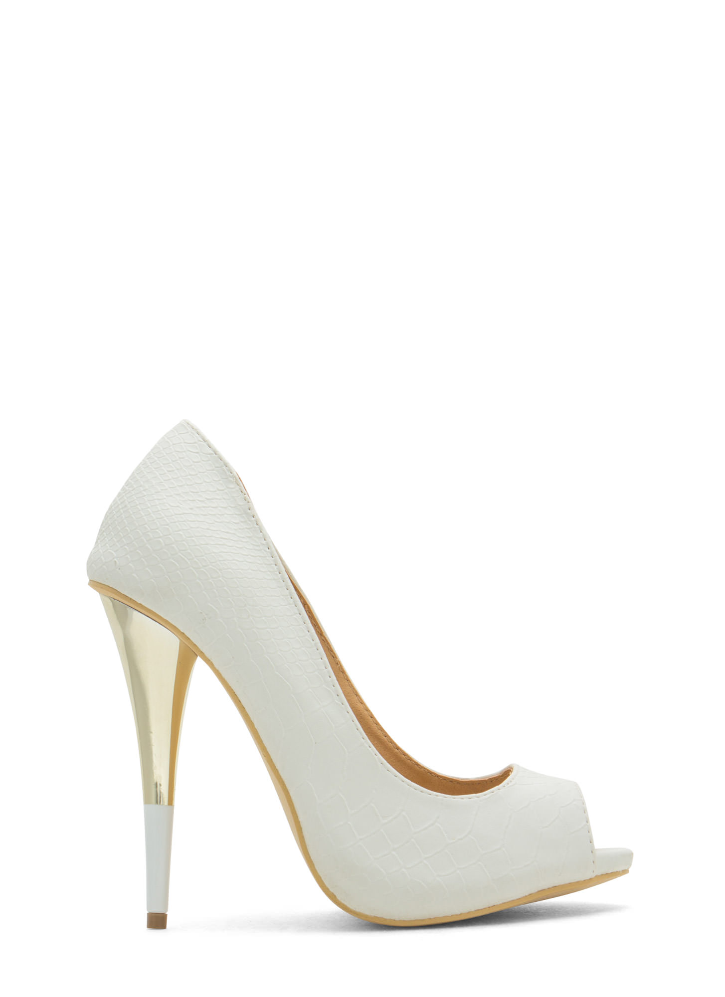 Tip You Off Reptile Scale Peep-Toe Heels WHITE