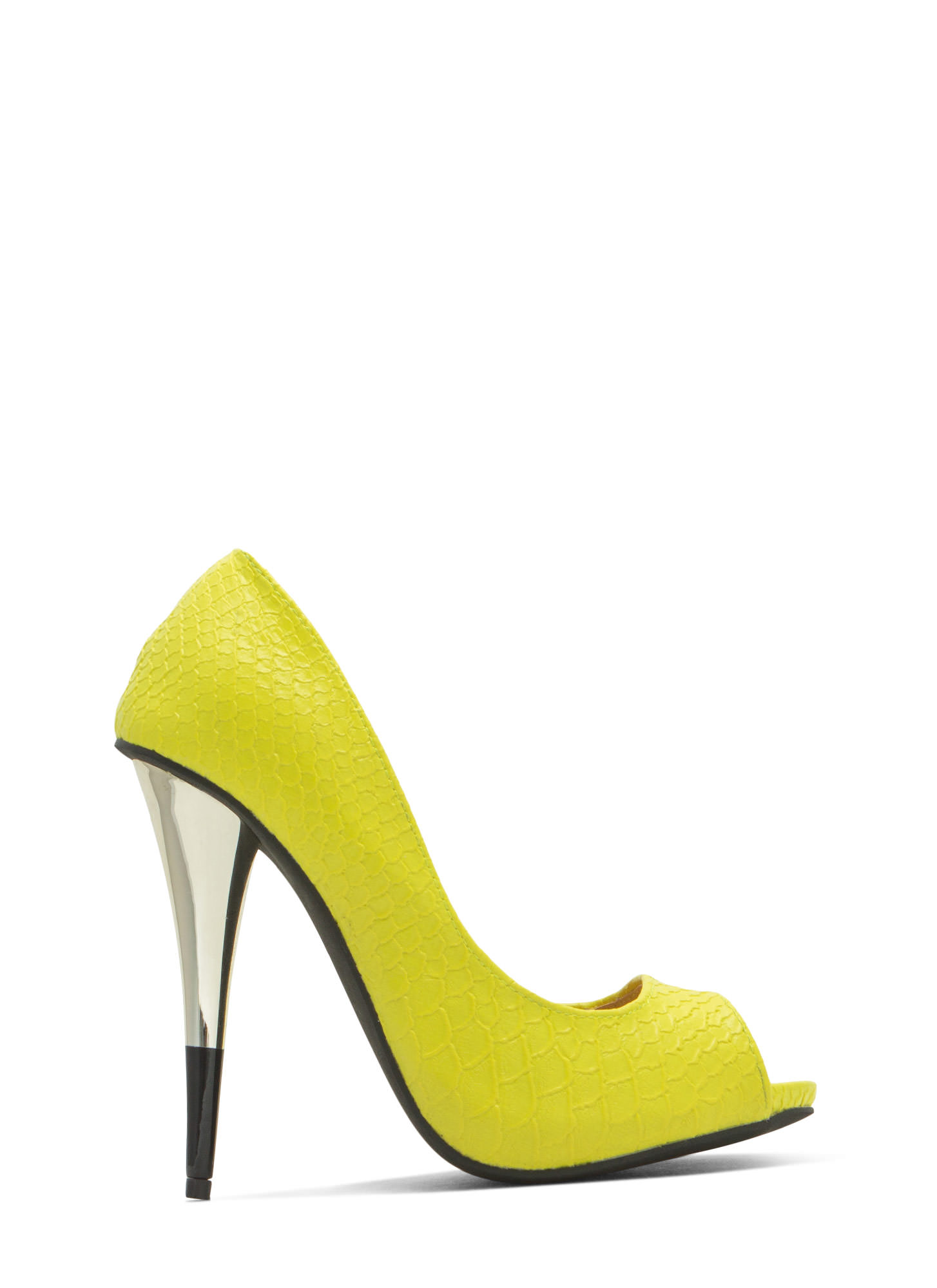 Tip You Off Reptile Scale Peep-Toe Heels YELLOW