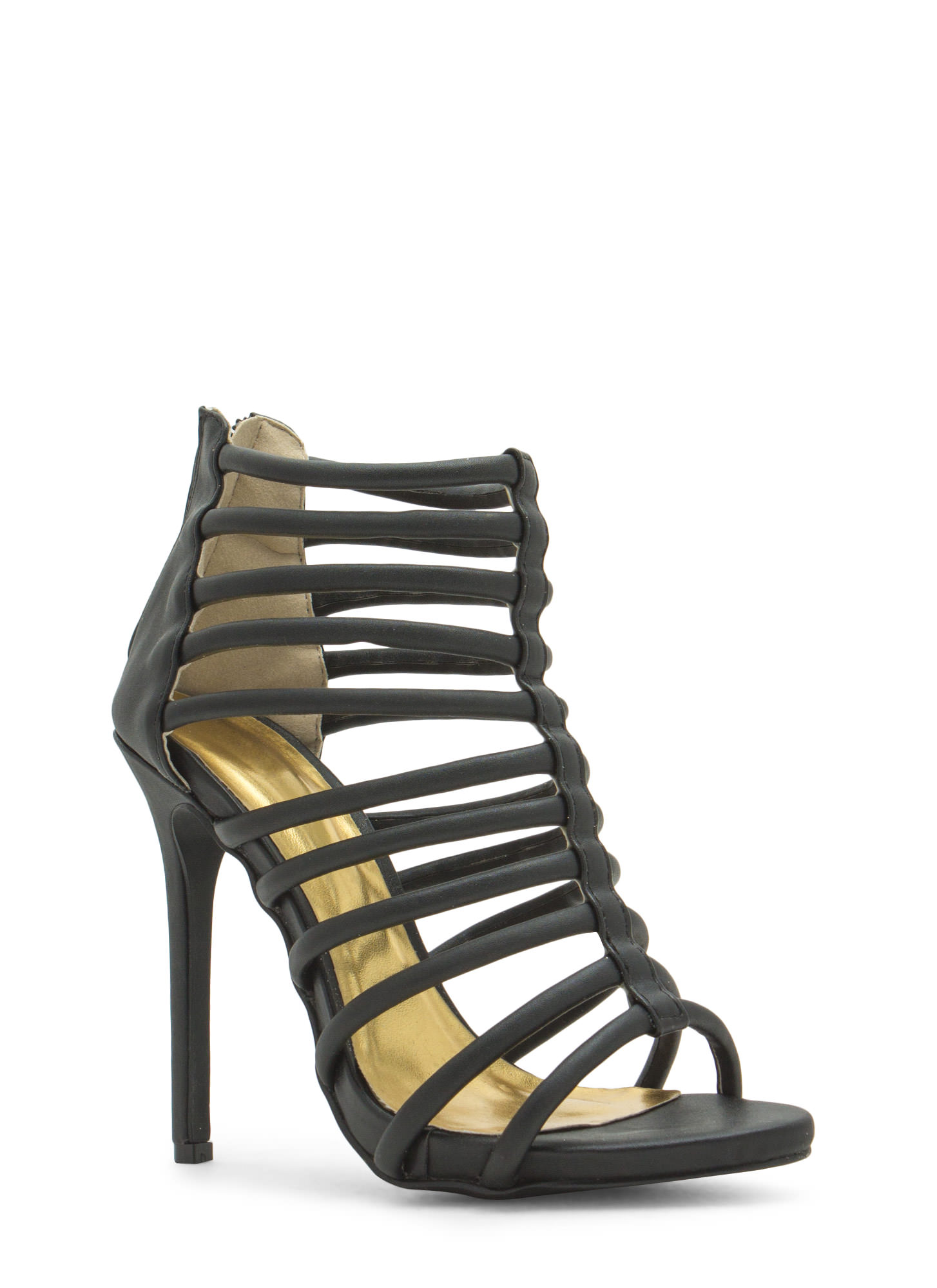 Ladder To The Top Caged Heels BLACK