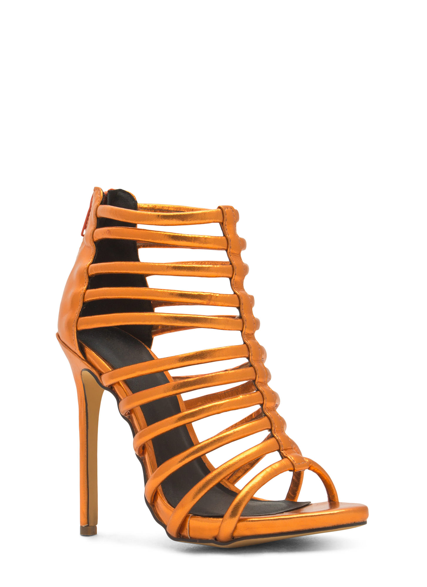 Ladder To The Top Caged Heels ORANGE