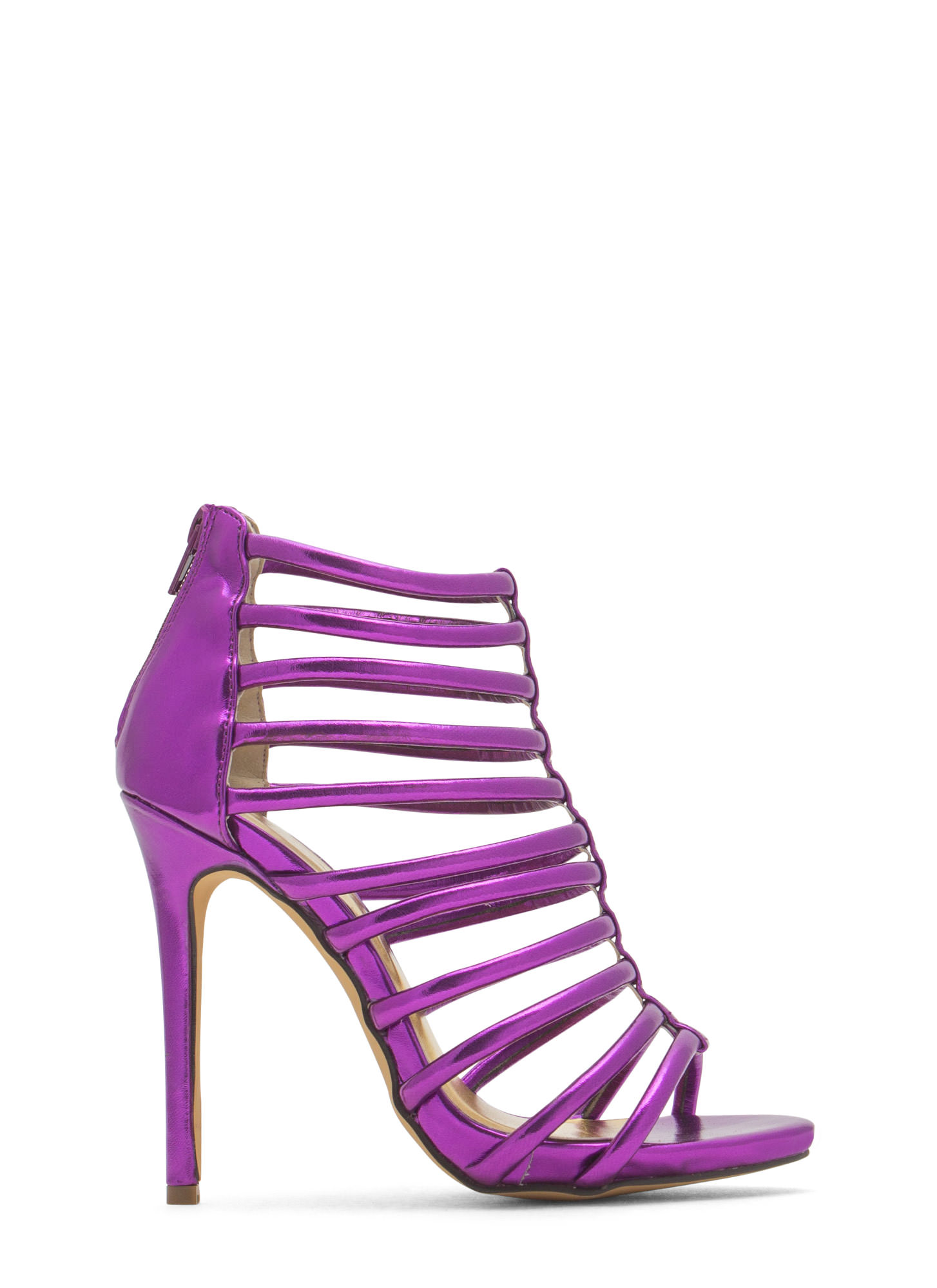 Ladder To The Top Caged Heels PURPLE
