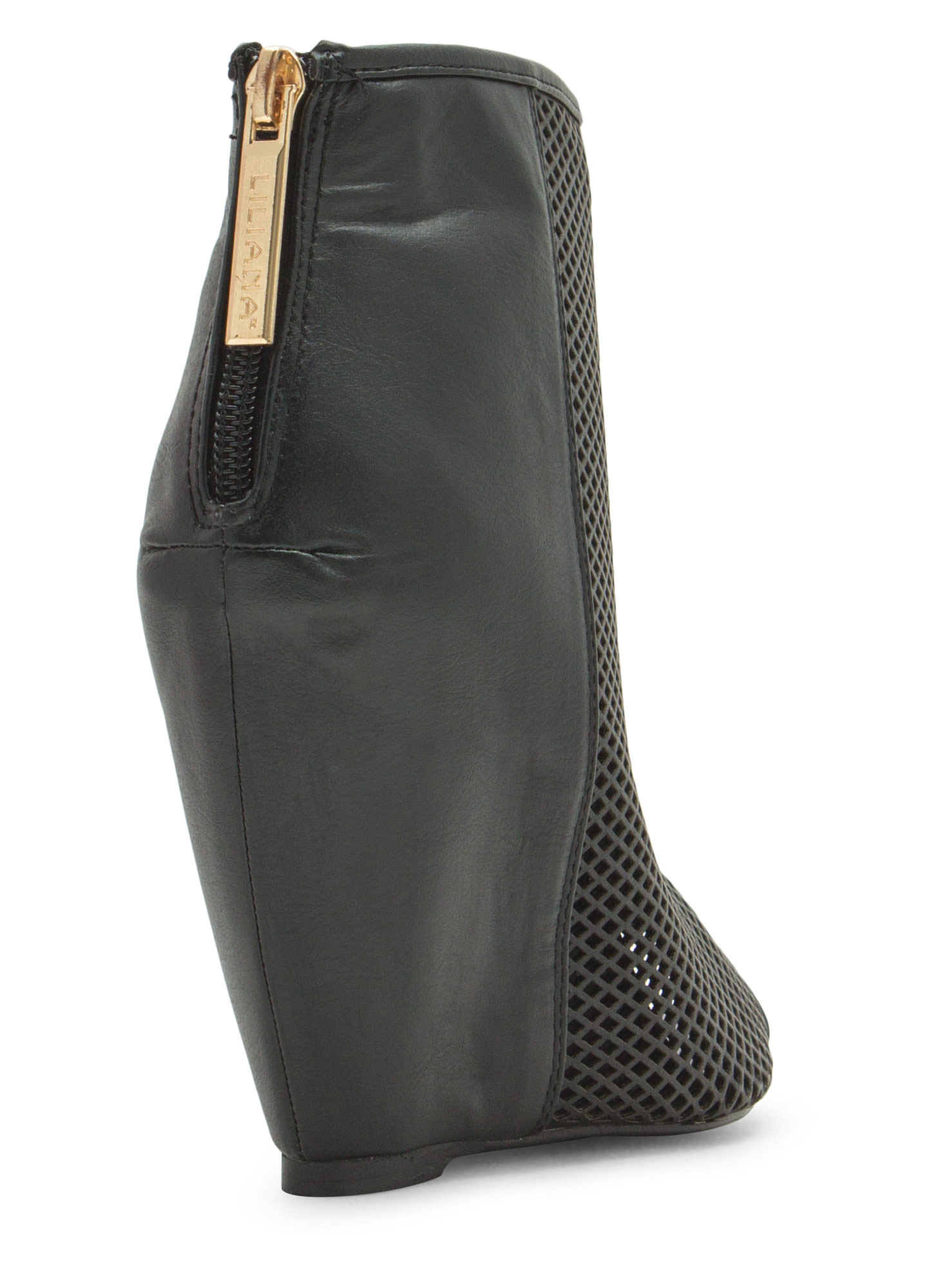 Net Worth Peep-Toe Bootie Wedges BLACK