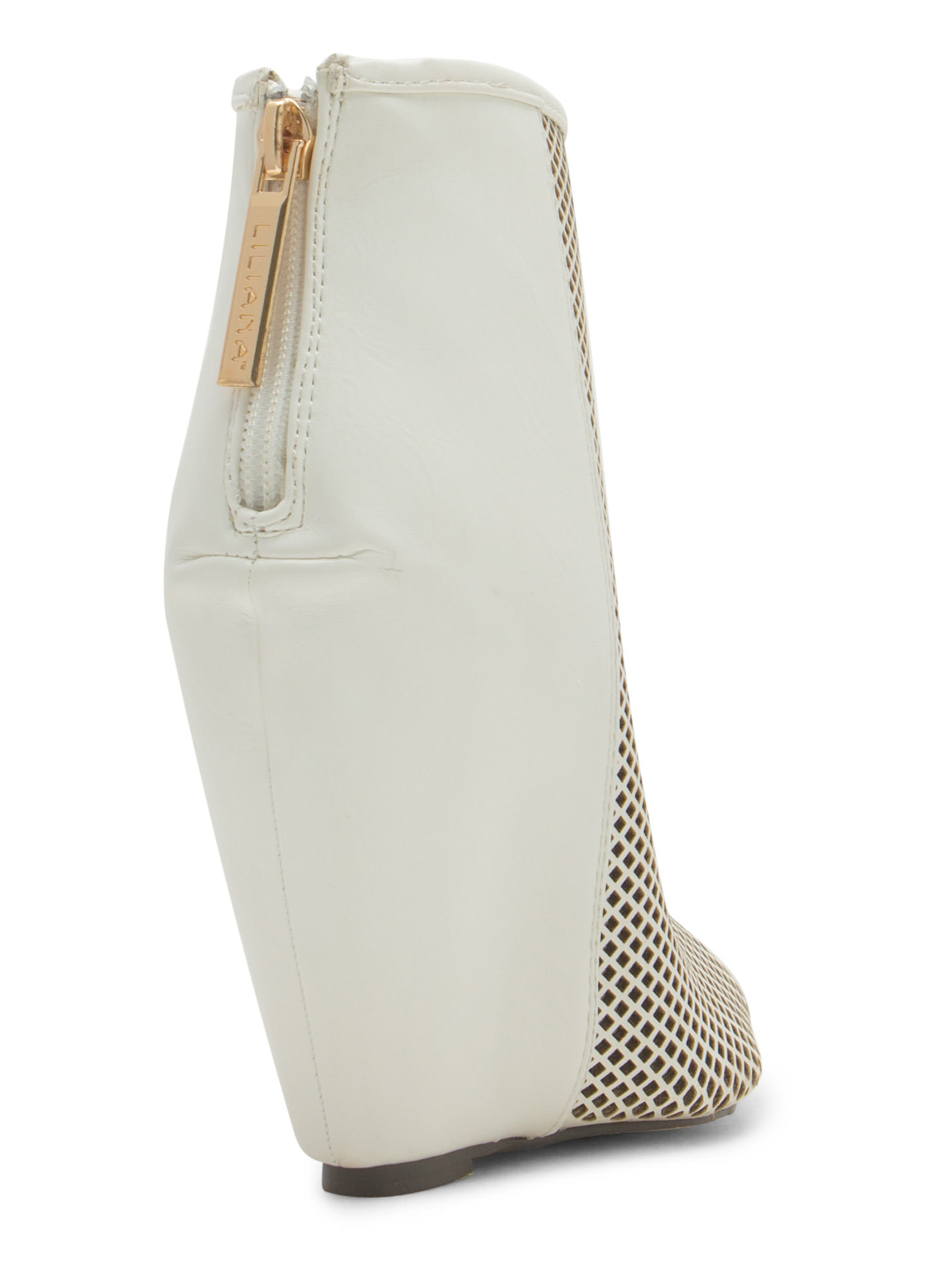 Net Worth Peep-Toe Bootie Wedges WHITE