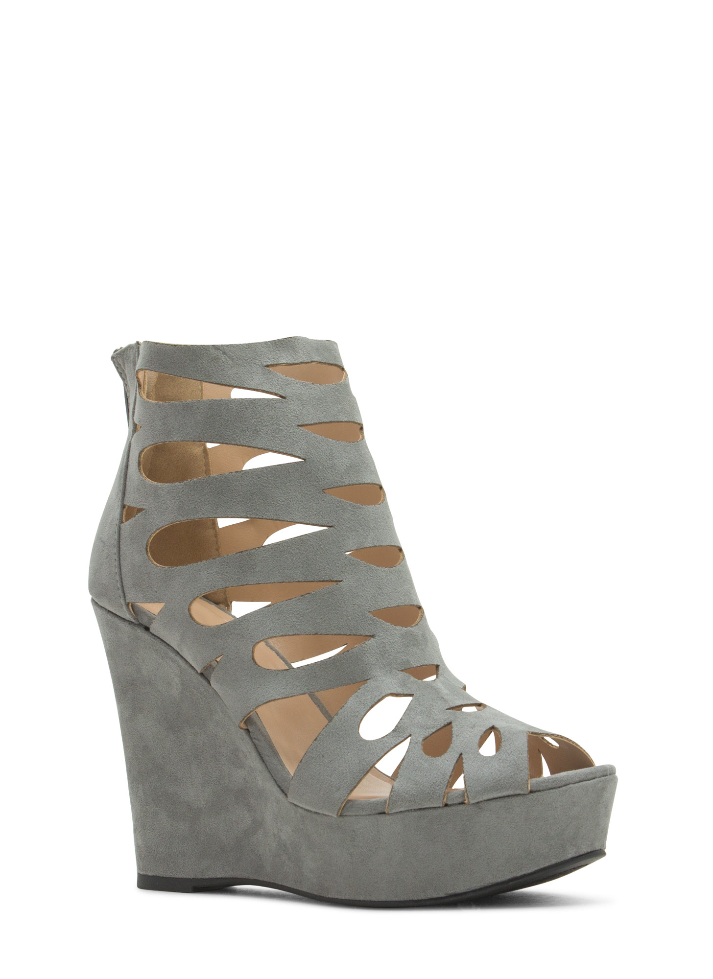 Teardrop Cut-Out Platform Wedges ASHGREY