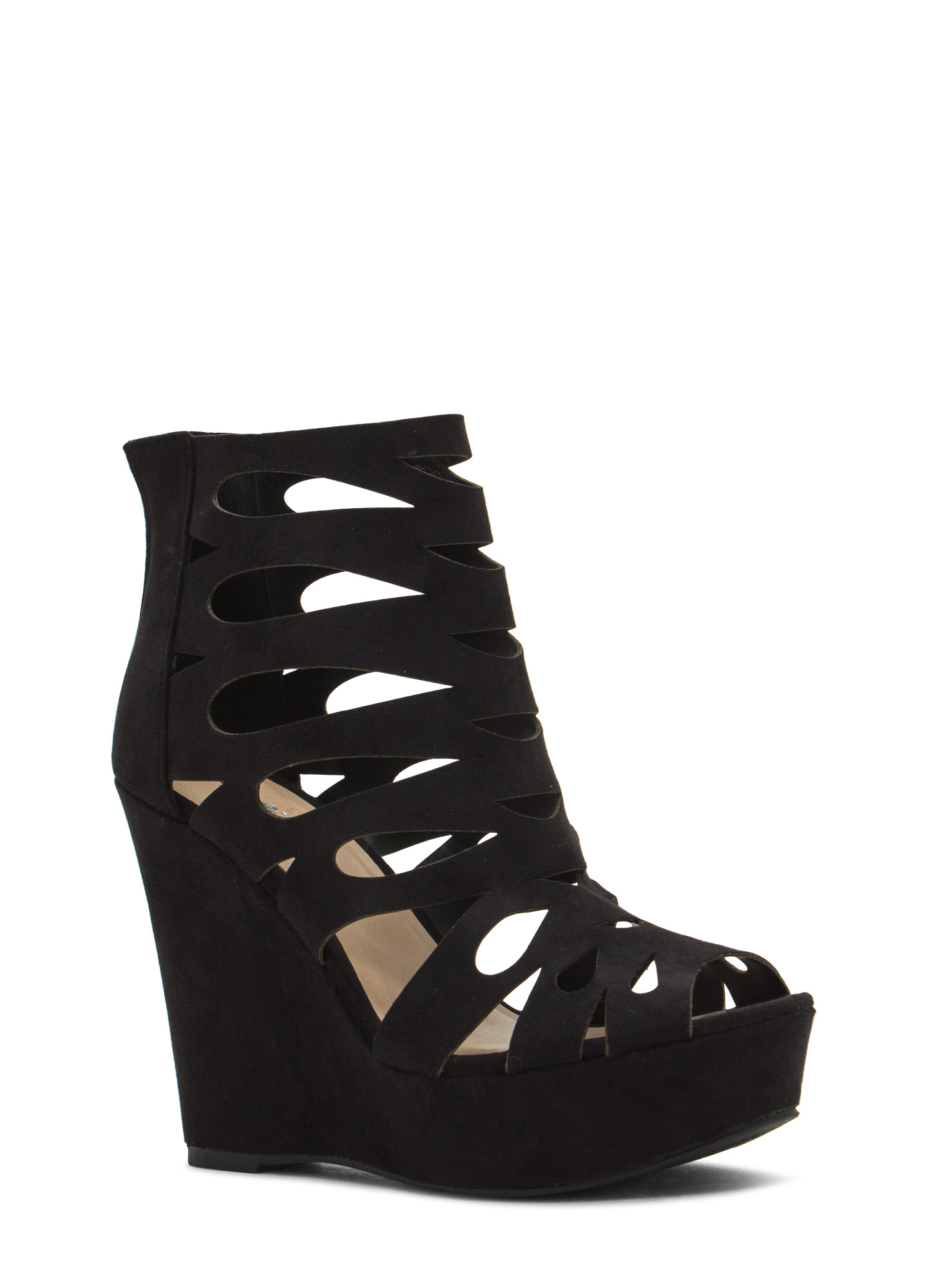 Teardrop Cut-Out Platform Wedges BLACK