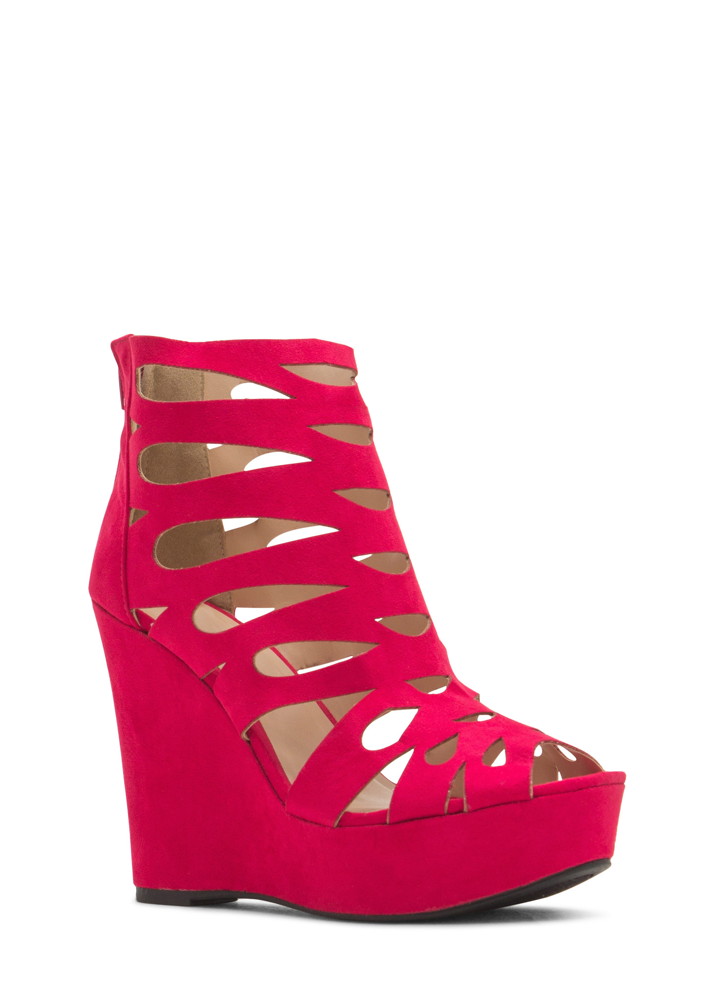 Teardrop Cut-Out Platform Wedges SANGRIA