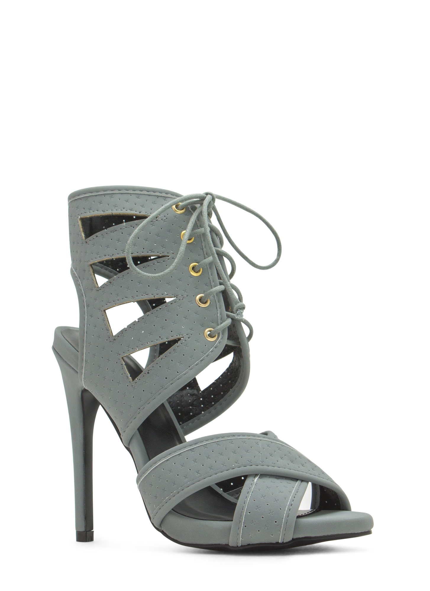 Triangulated Perforated Cut-Out Heels ASHGREY