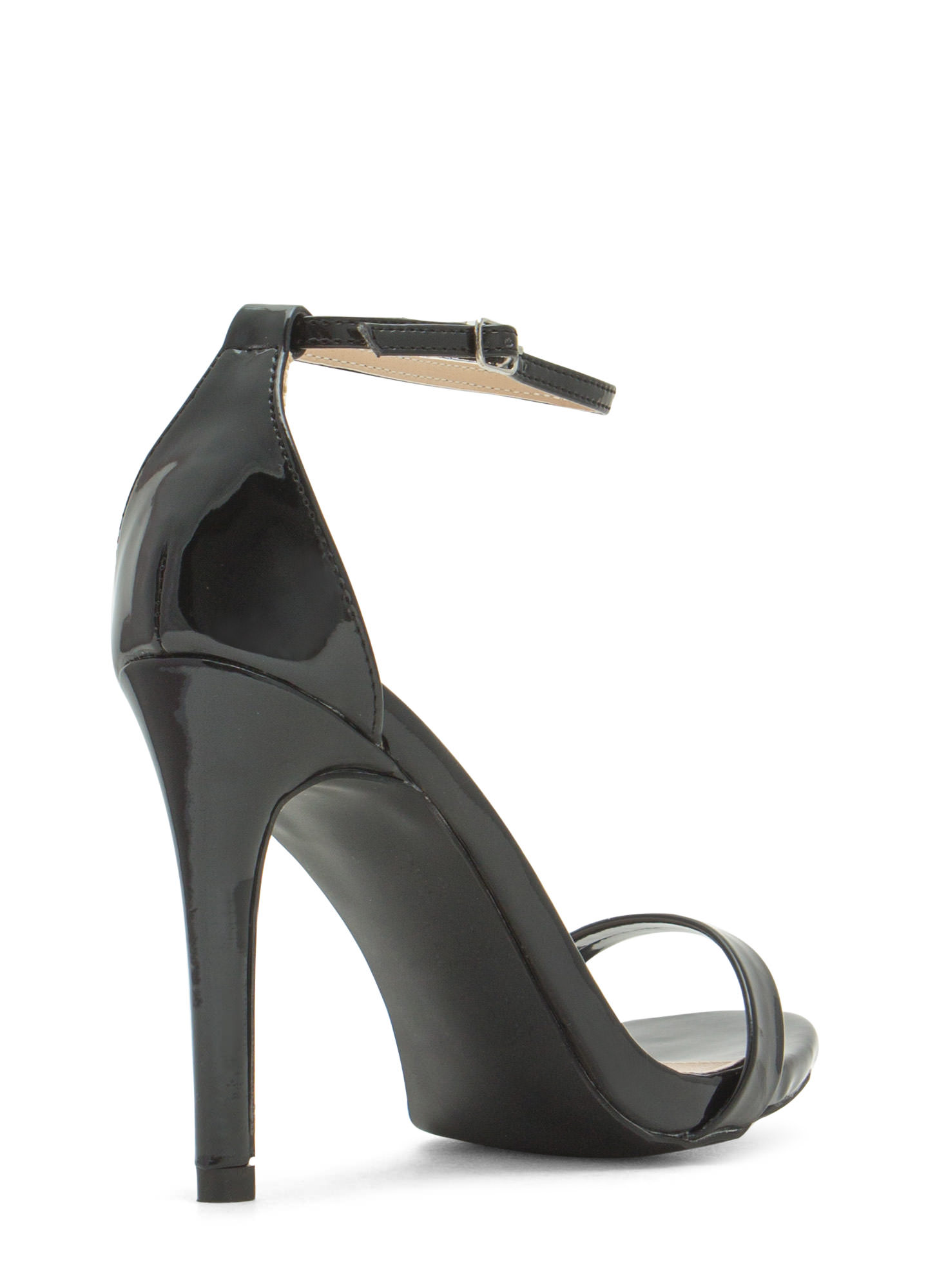 The Skinny Faux Patent Ankle Strap Heels BLACK