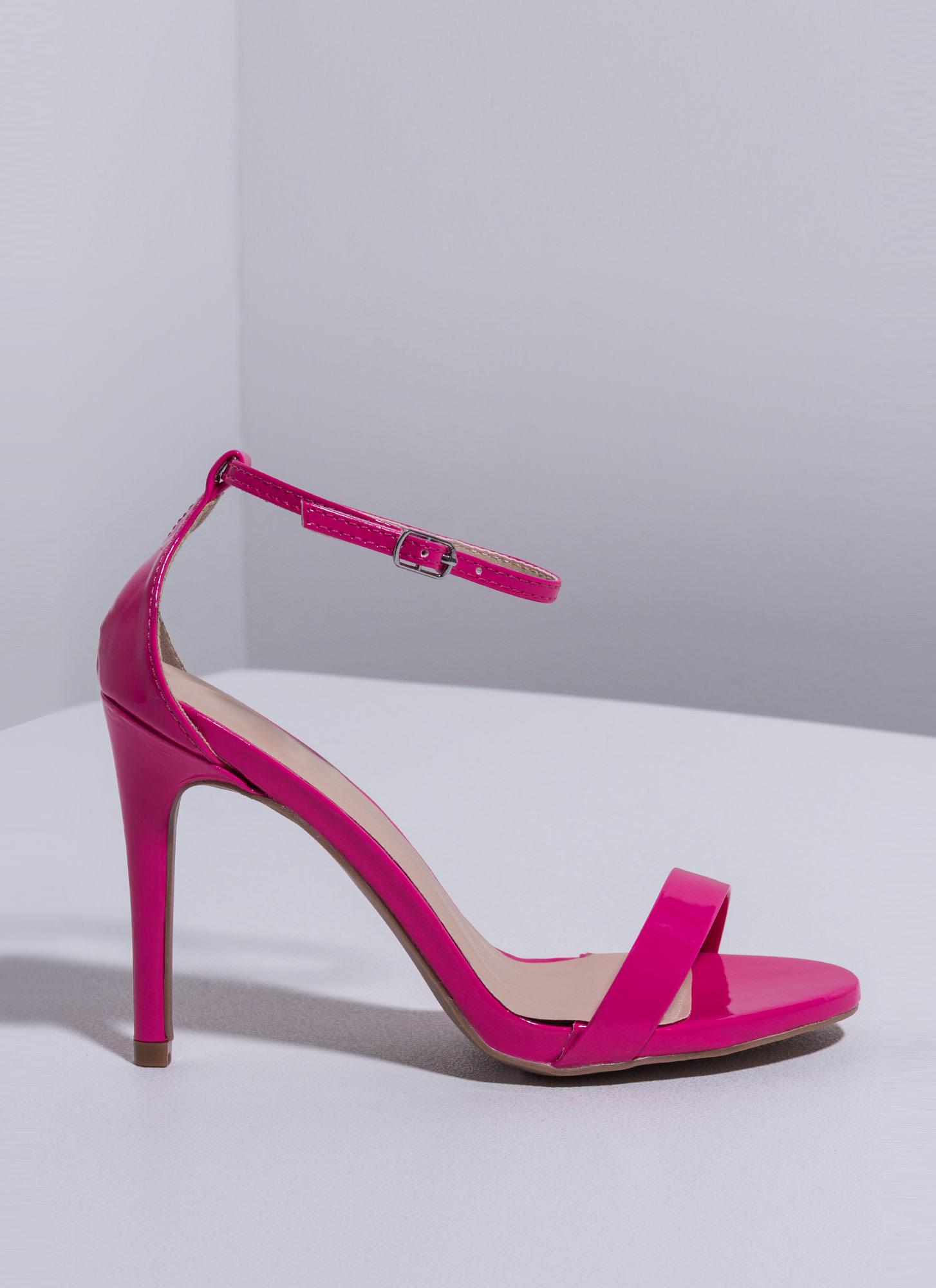 The Skinny Faux Patent Ankle Strap Heels HOTPINK