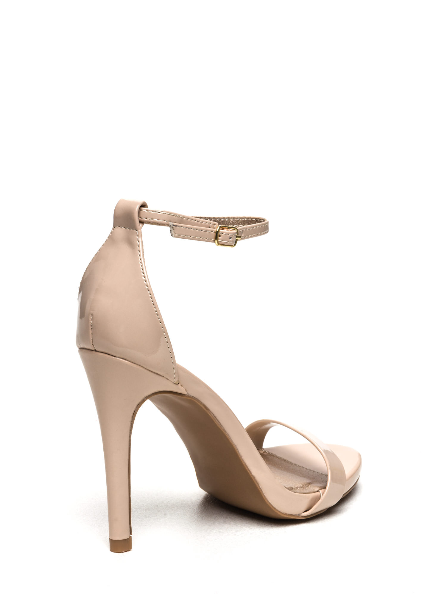 The Skinny Faux Patent Ankle Strap Heels NUDE