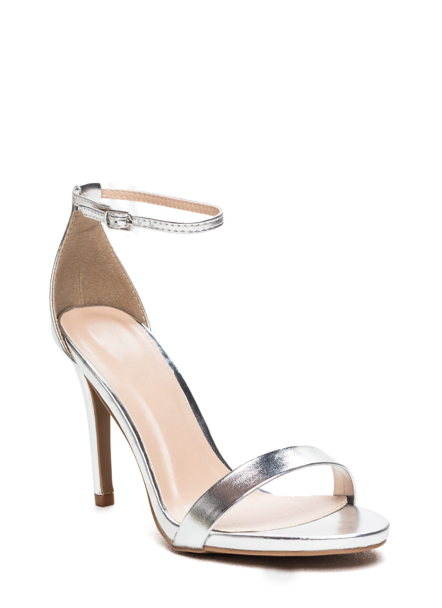 The Skinny Faux Patent Ankle Strap Heels SILVER