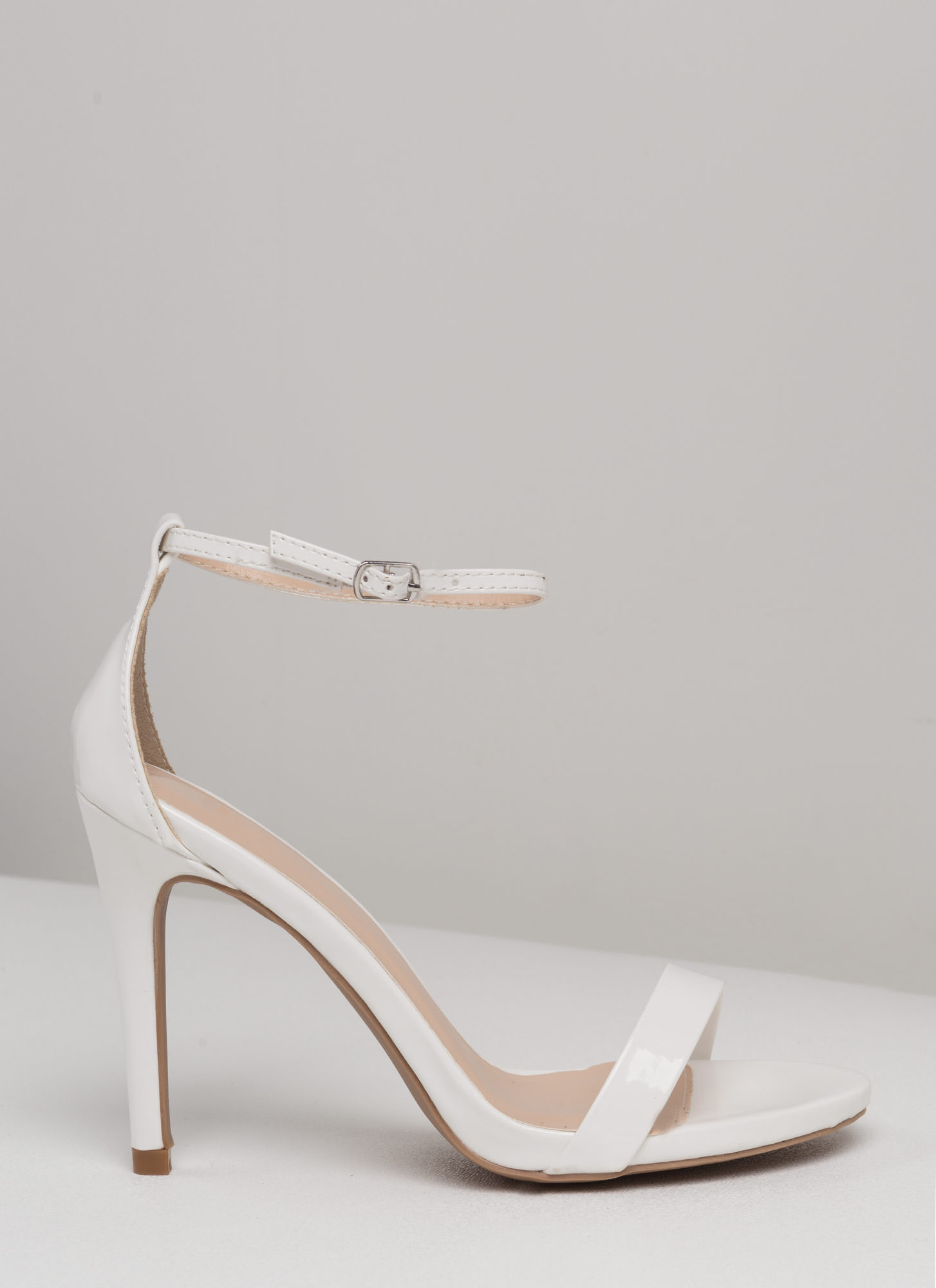 The Skinny Faux Patent Ankle Strap Heels WHITE