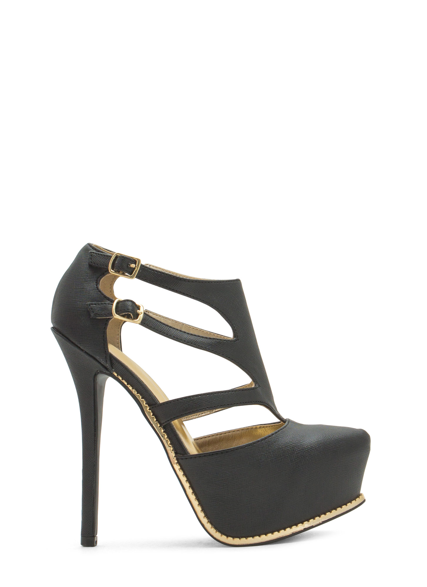 Textured Toothsome Strappy Platforms BLACK