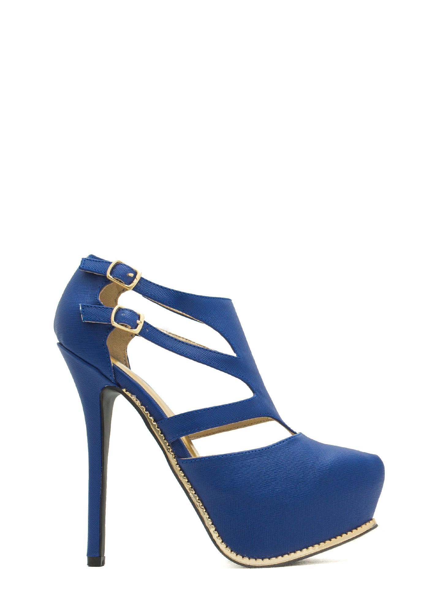 Textured Toothsome Strappy Platforms COBALT