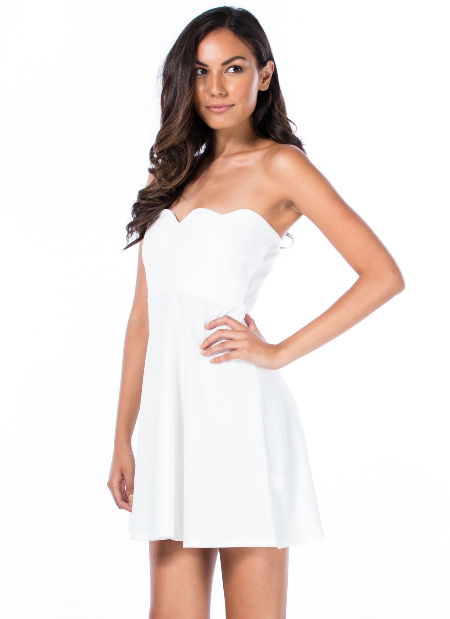 Sweet Nothings Scalloped Skater Dress WHITE