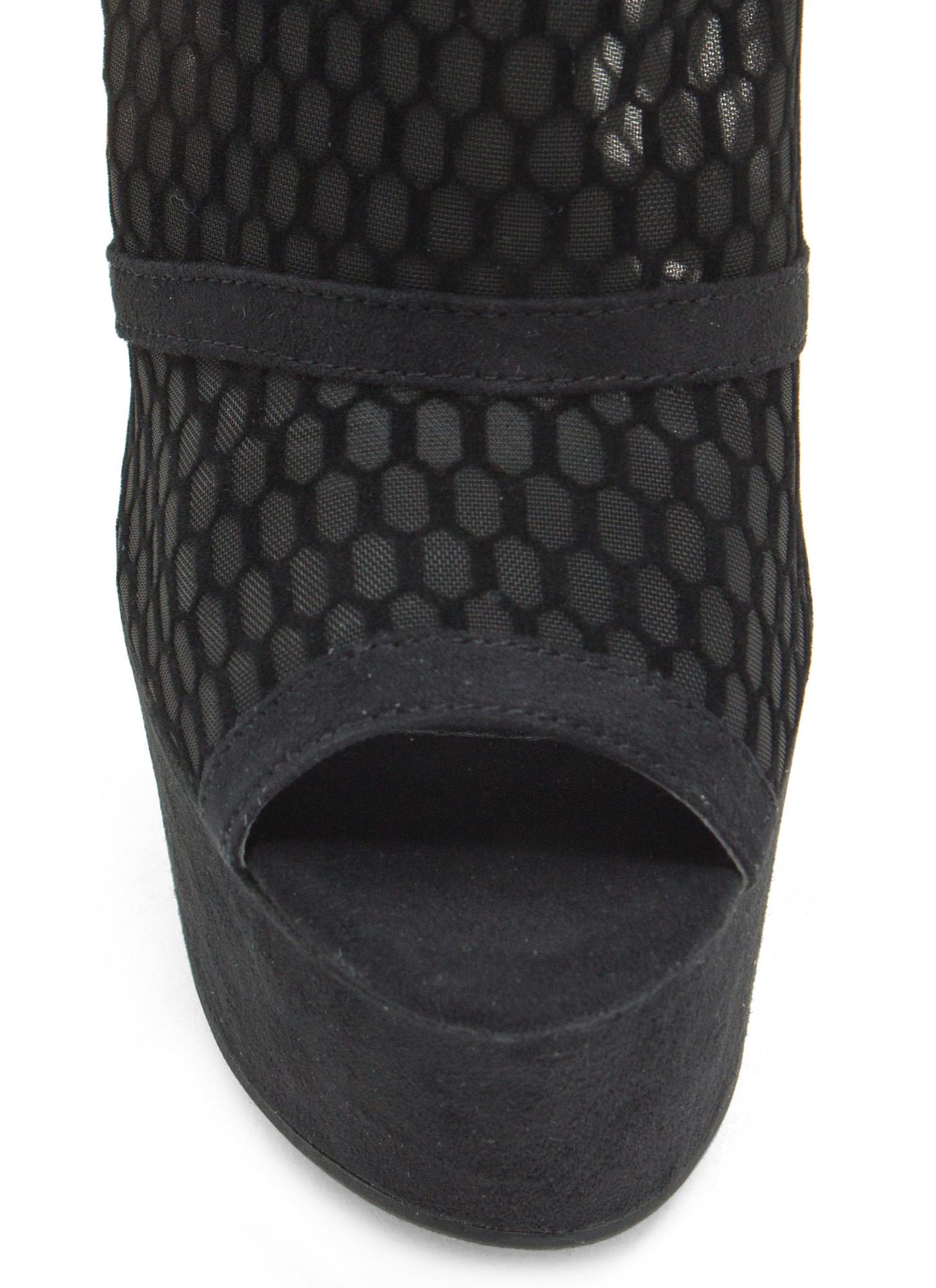 On The Fence Mesh Bootie Wedges BLACK
